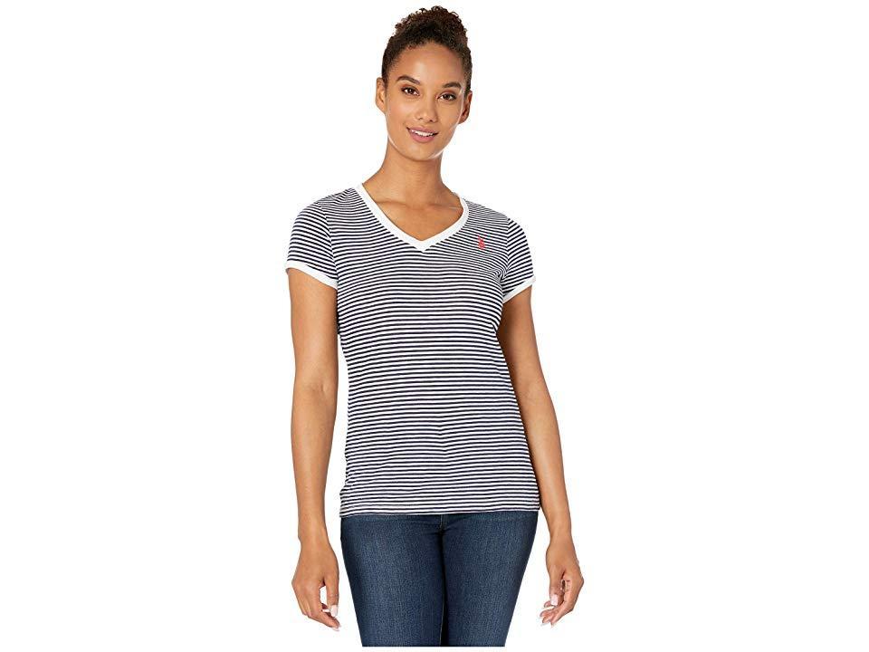 Womens Lace Trim V-Neck Slub Stripe T-Shirt Polo Assn U.S