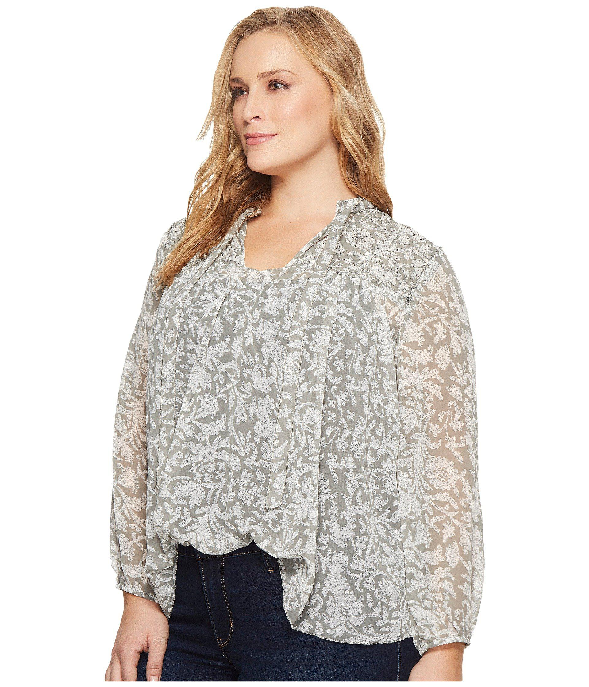 85cf333b3e9 Lyst - Lucky Brand Plus Size Beaded Floral Peasant Top in Gray - Save 47%