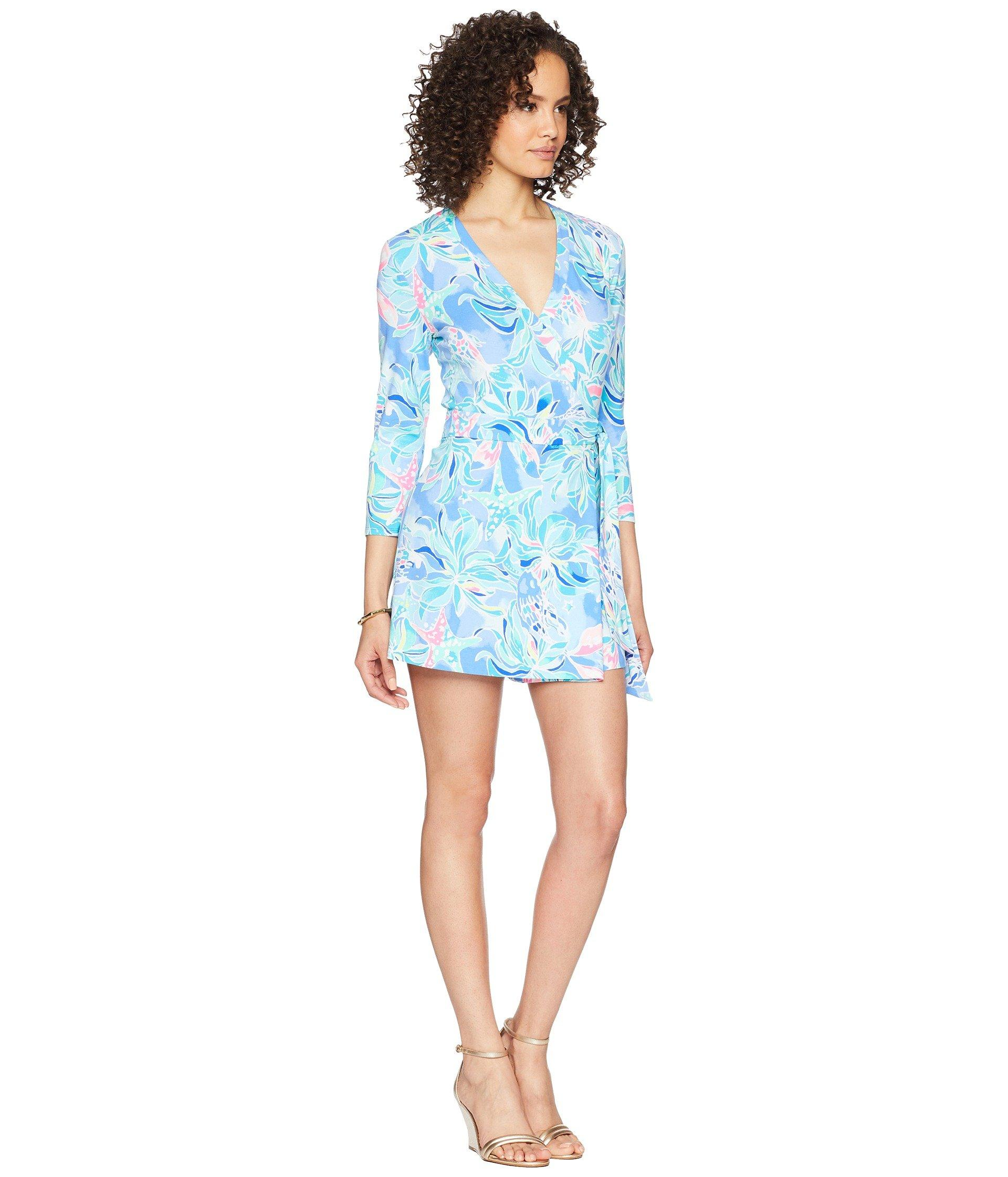 32be87a4c000 Lyst - Lilly Pulitzer Karlie Wrap Romper in Blue