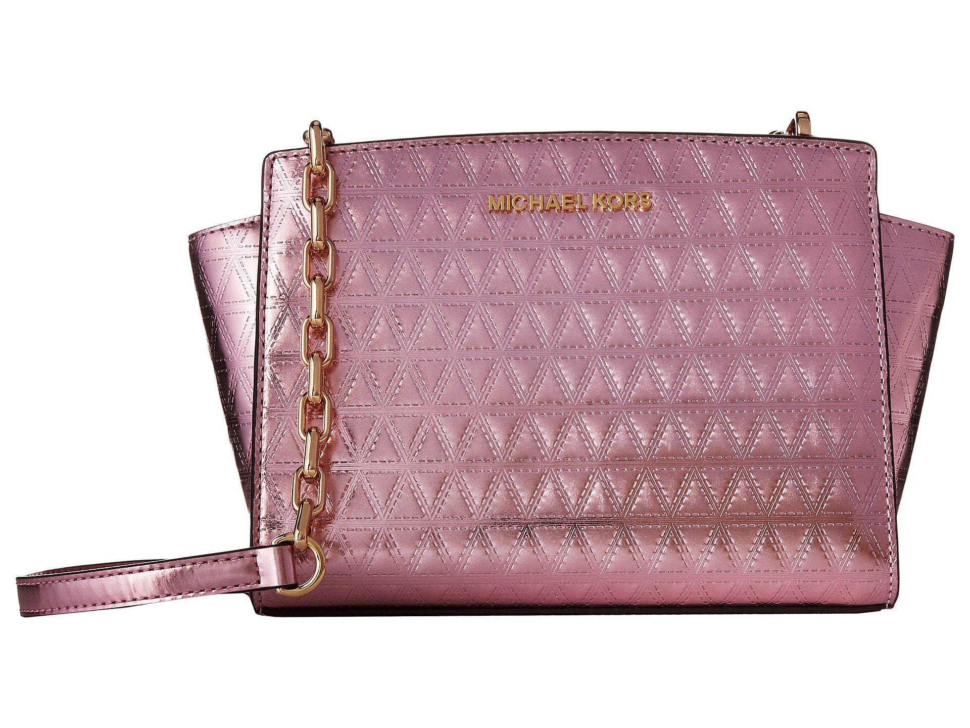 ... bag saffiano leather 0fe94 a8bd5  australia lyst michael michael kors  selma medium messenger in pink e3495 783db 5805734bcdc18