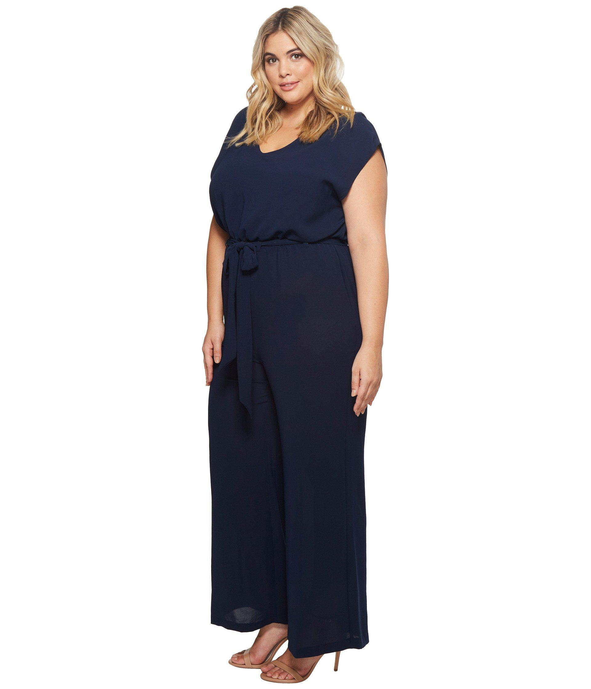 e5c4792afb9fe Lyst - Adrianna Papell Plus Size Gauzy Crepe Belted Jumpsuit in Blue - Save  32%