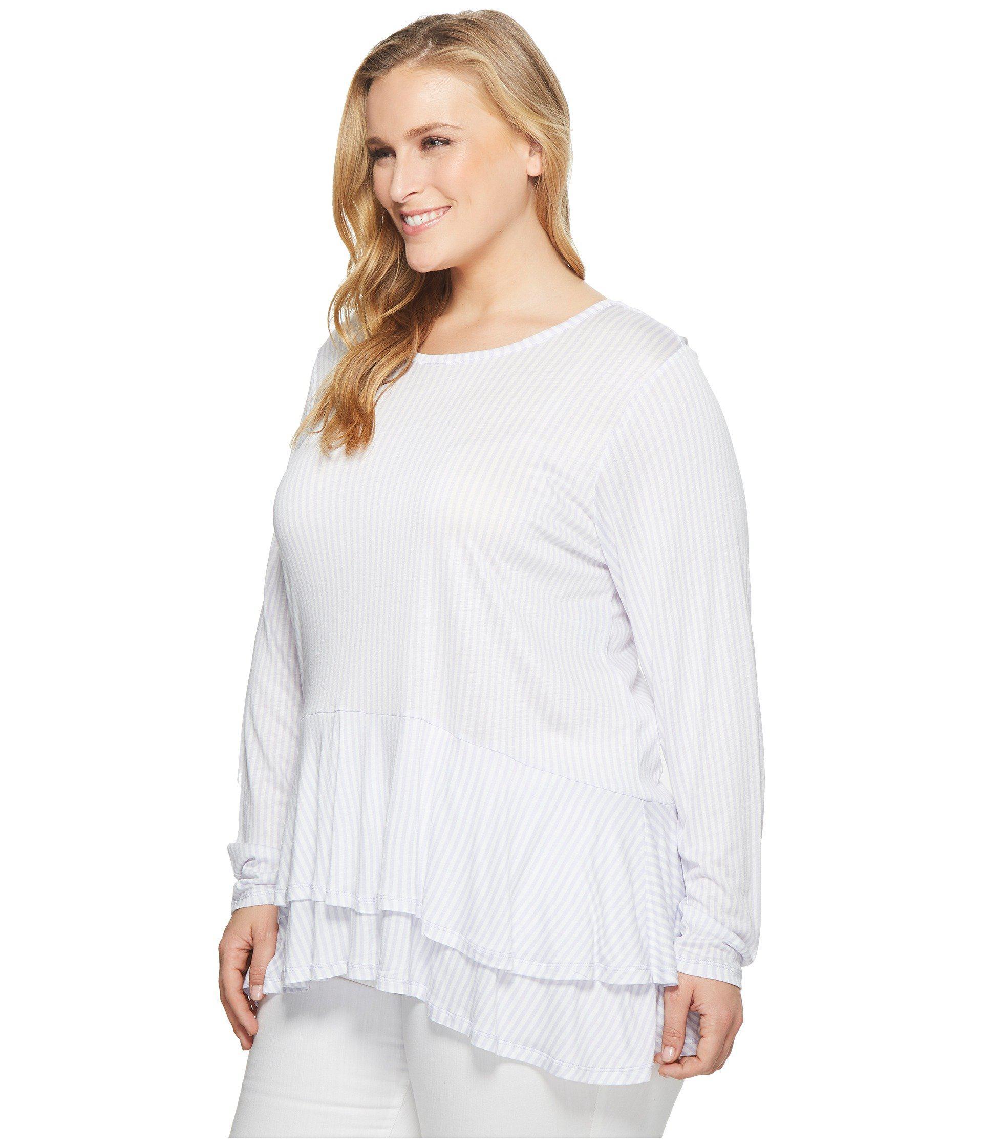 b6253aefade Lyst - MICHAEL Michael Kors Plus Size Petite Stripe Double Hem Top in White  - Save 14%