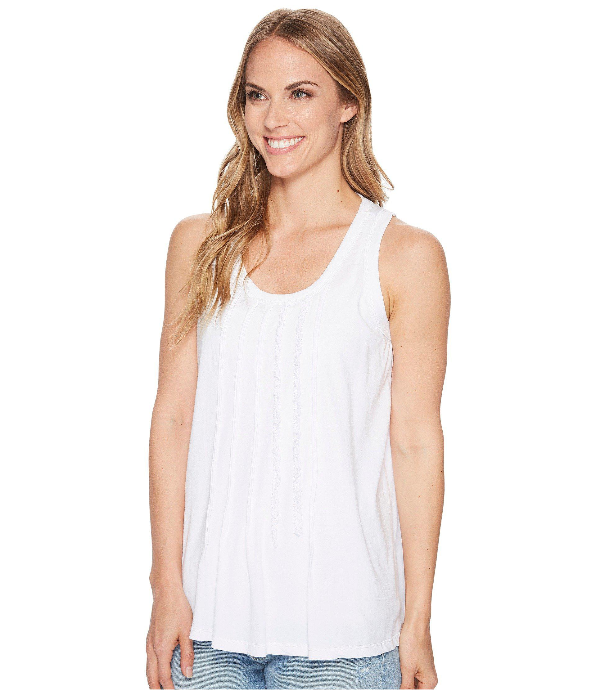 209705df6de2c Lyst - Dylan By True Grit Vintage Soft Cotton Pleated And Ruffle Tank Top  in White - Save 59%
