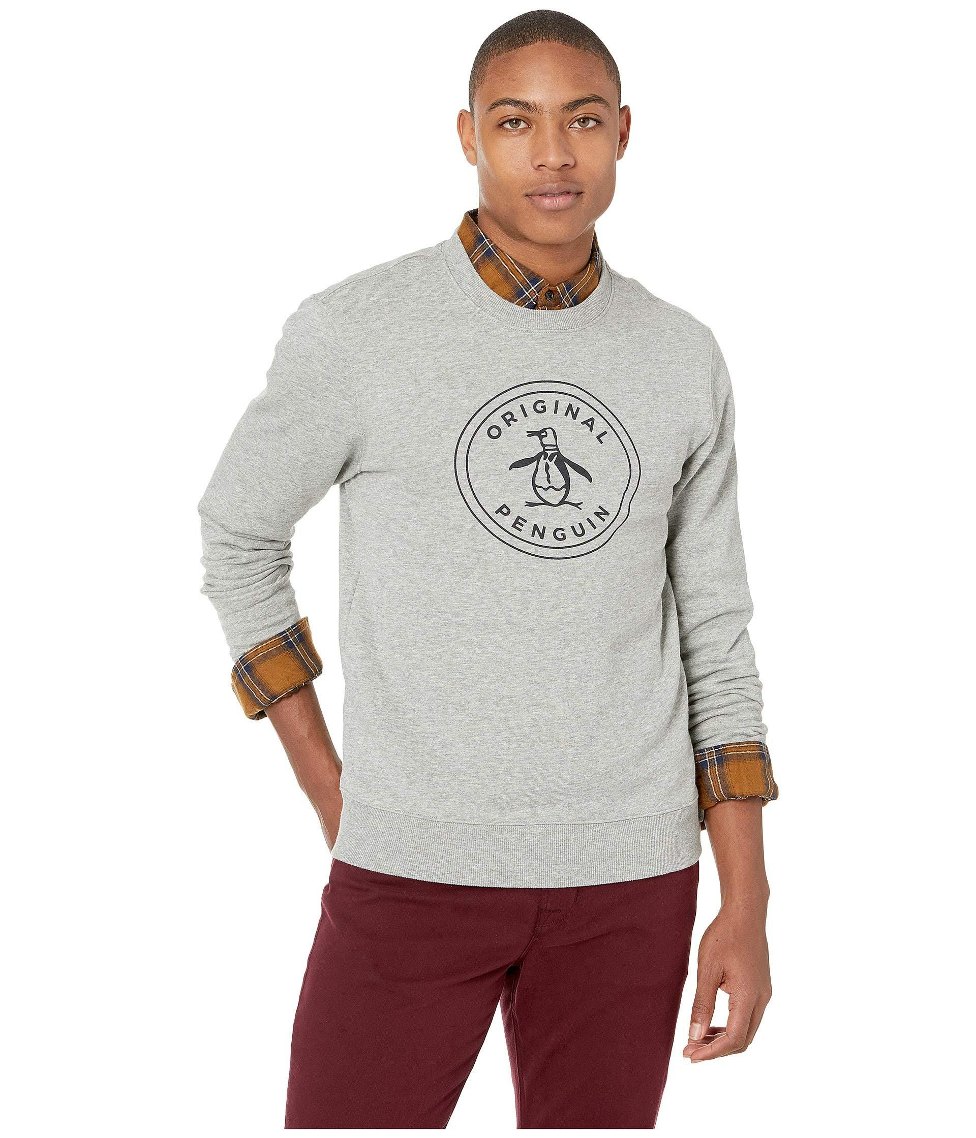 4471150027364c Lyst - Original Penguin Long Sleeve Stamp Logo French Terry Crew in ...