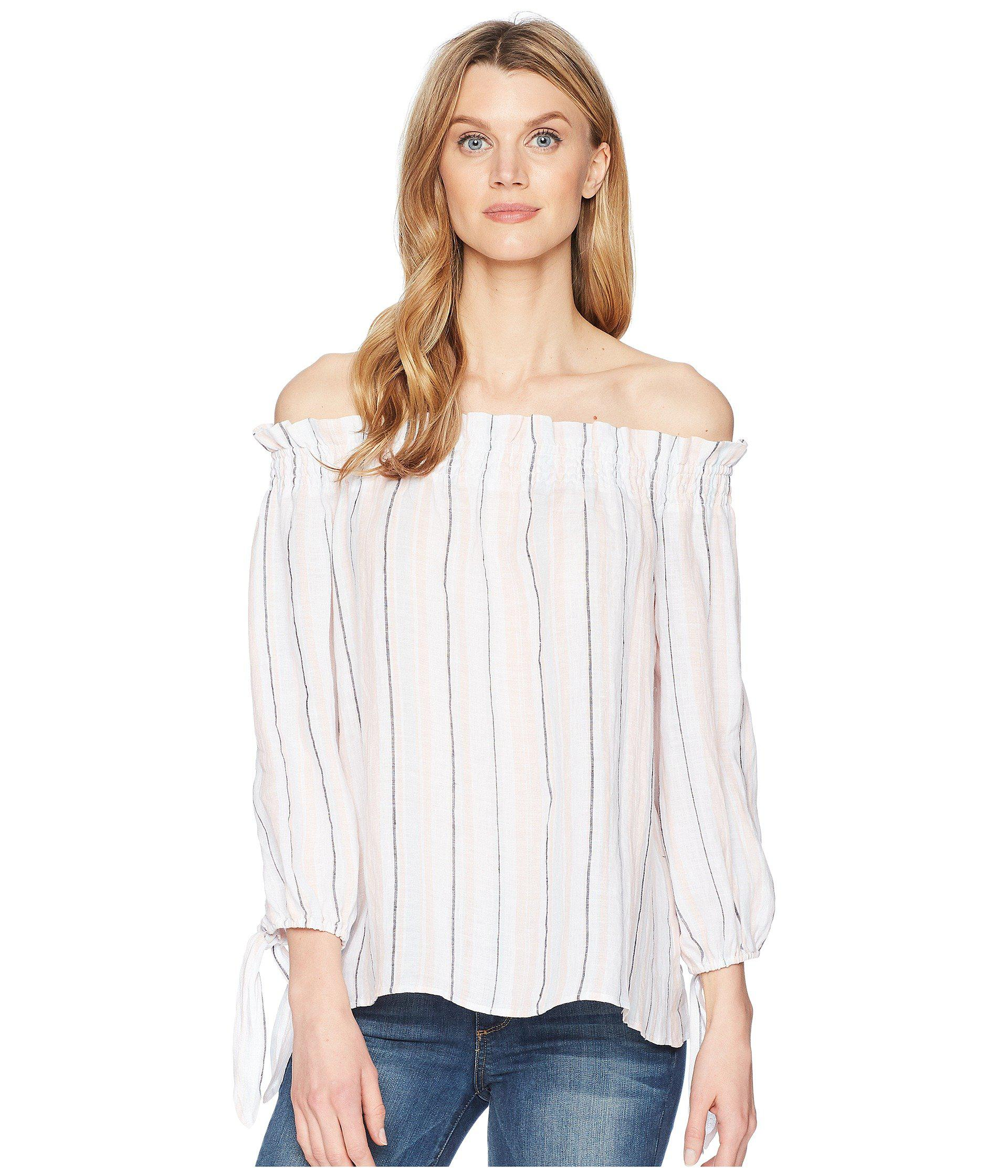 cd07a735856 Two By Vince Camuto. Women s White Long Sleeve Off Shoulder Seashore Stripe  Linen Blouse