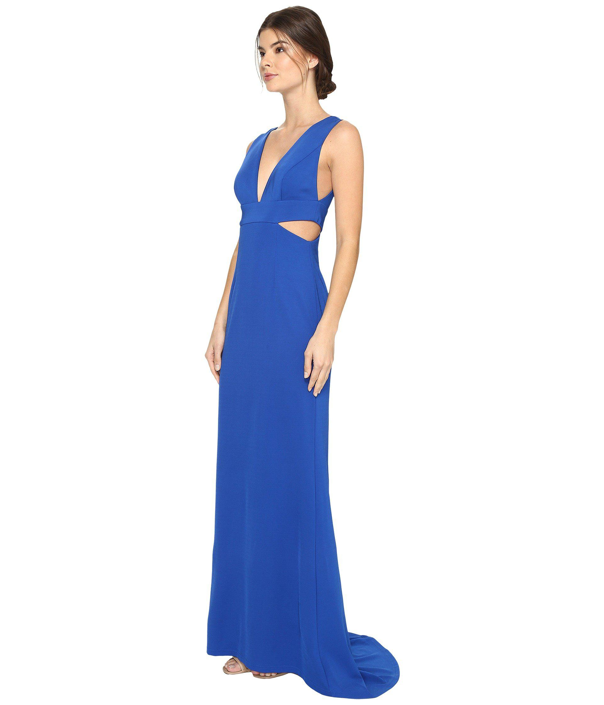 95eadcce94c Adrianna Papell Sleeveless Jersey Gown W/ Cutouts in Blue - Lyst
