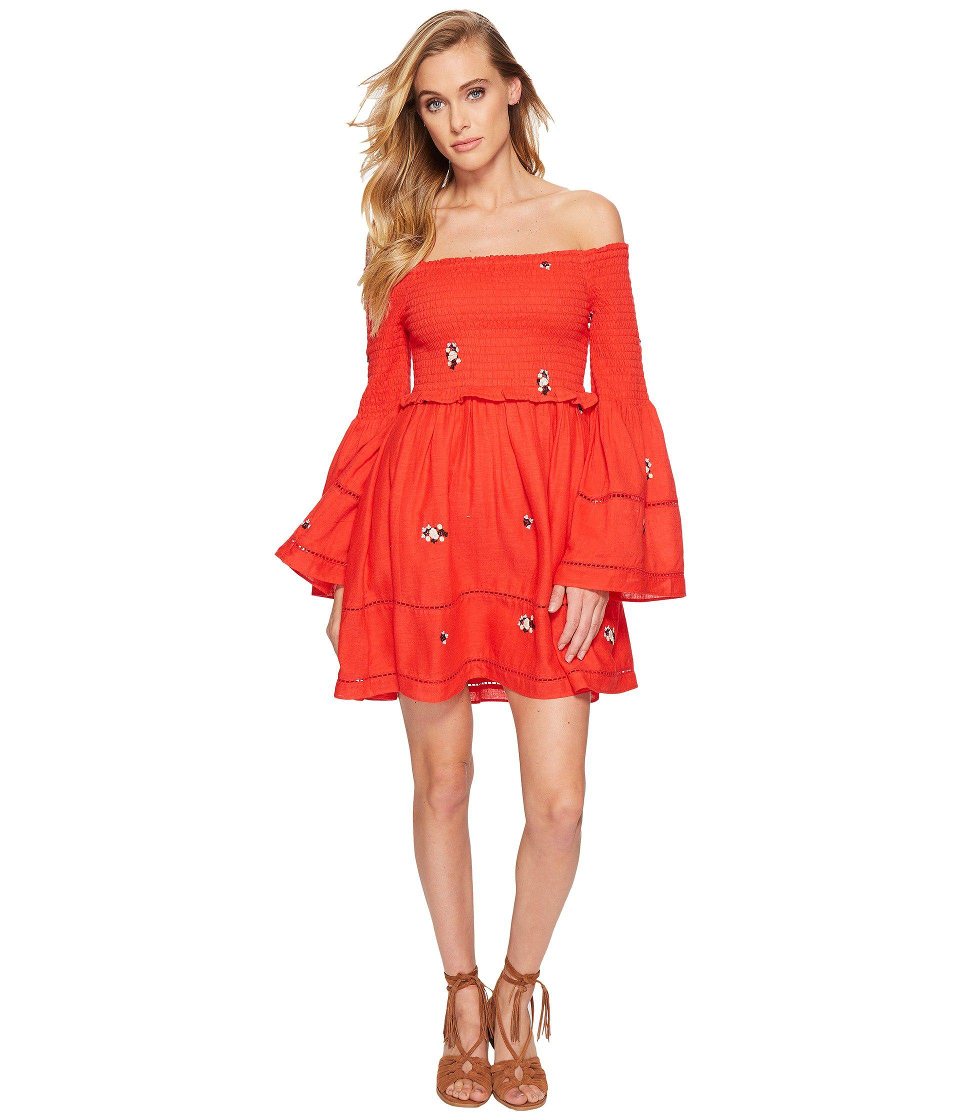 3cfcd26ac11af Lyst - Free People Counting Daisies Embroidered Mini Dress in Red ...
