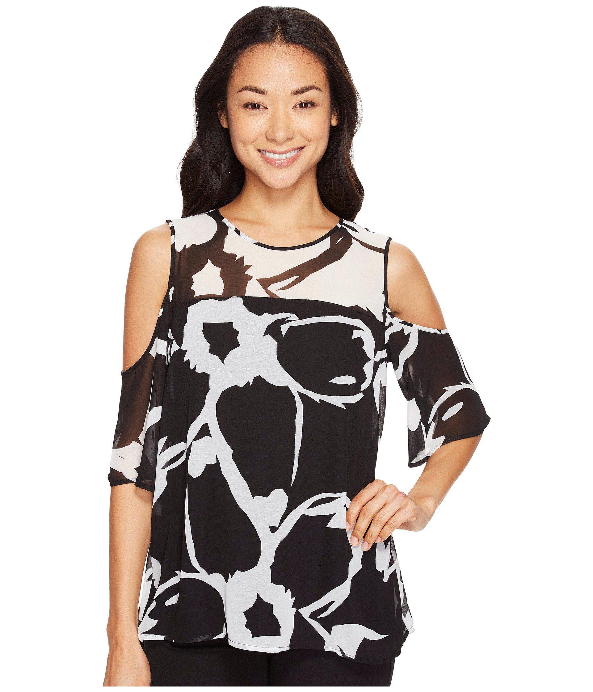 3eb89e13e45a9 Vince Camuto. Women s Black Short Sleeve Cut Out Floral Cold-shoulder Blouse