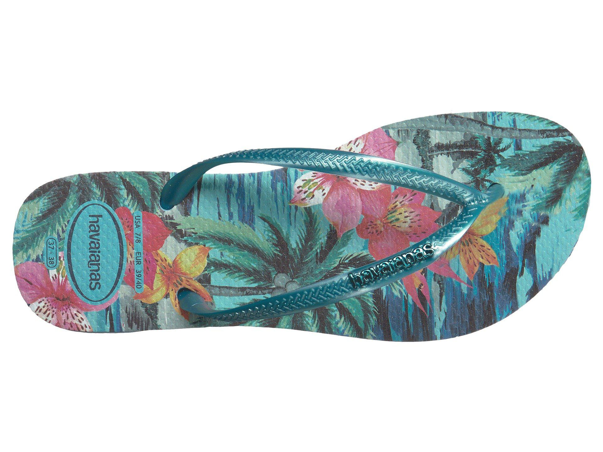 a0a1a7cae Havaianas - Blue Slim Tropical Flip Flops - Lyst. View fullscreen