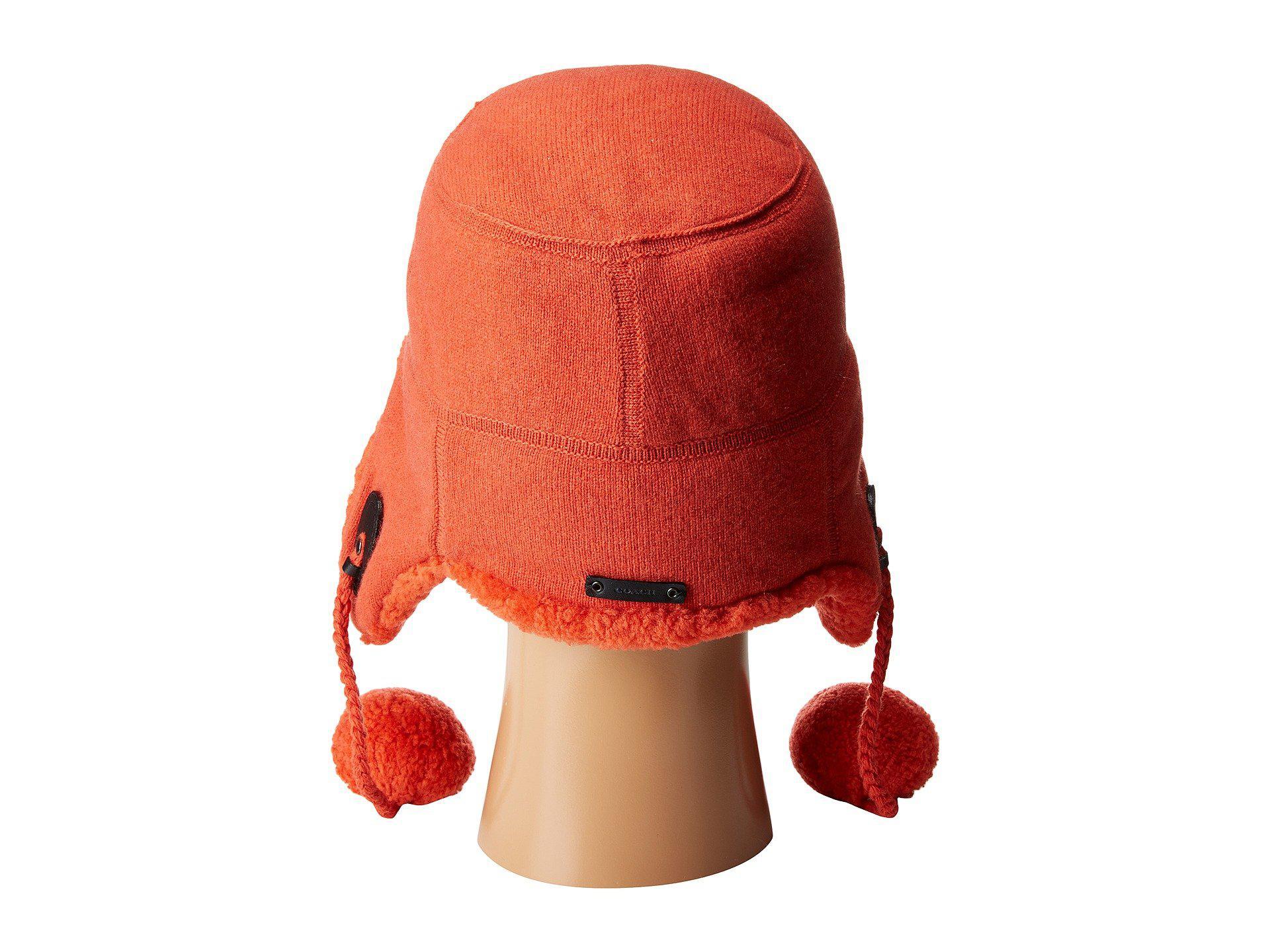 2044ed06f Lyst - COACH Sheepskin Trapper Hat in Orange for Men