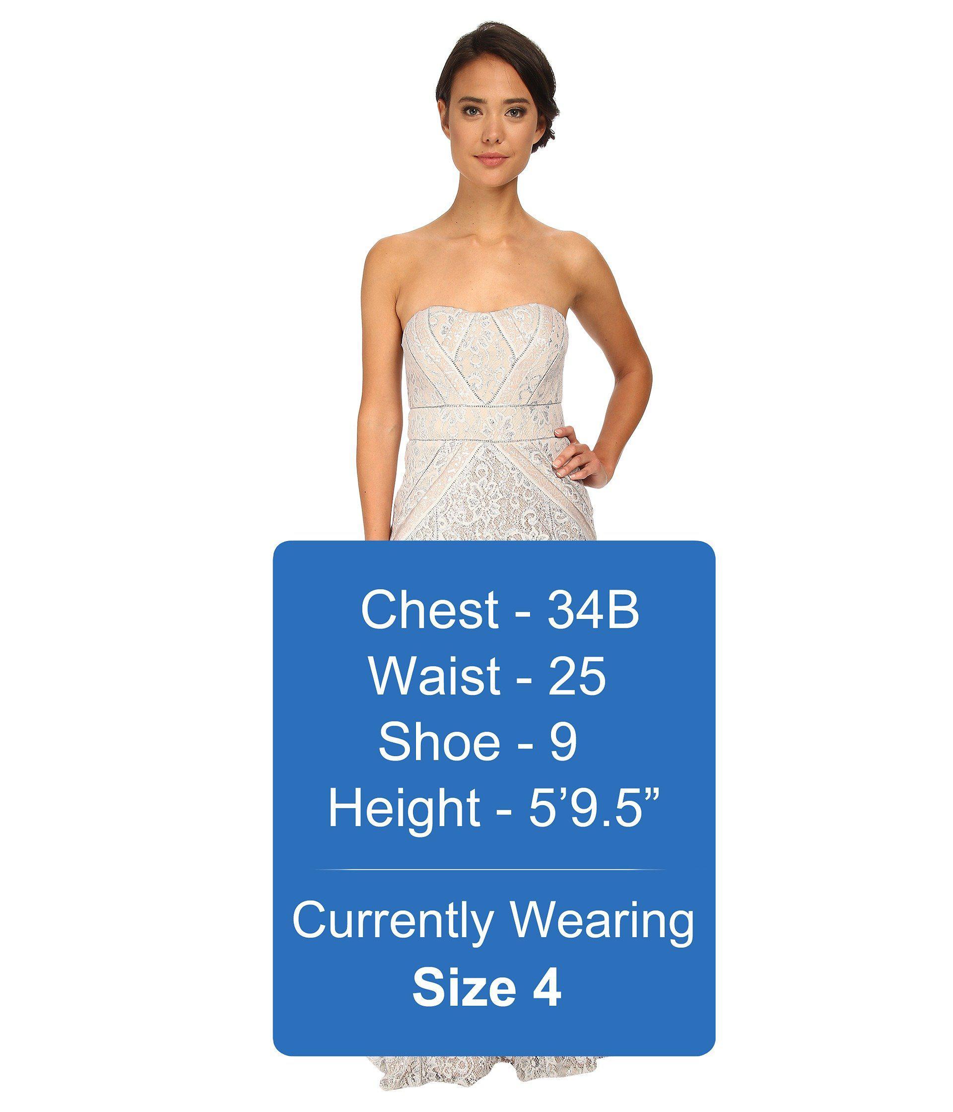 5248227a6b9c Badgley Mischka Strapless Metallic Lace Runway Gown in Metallic - Lyst