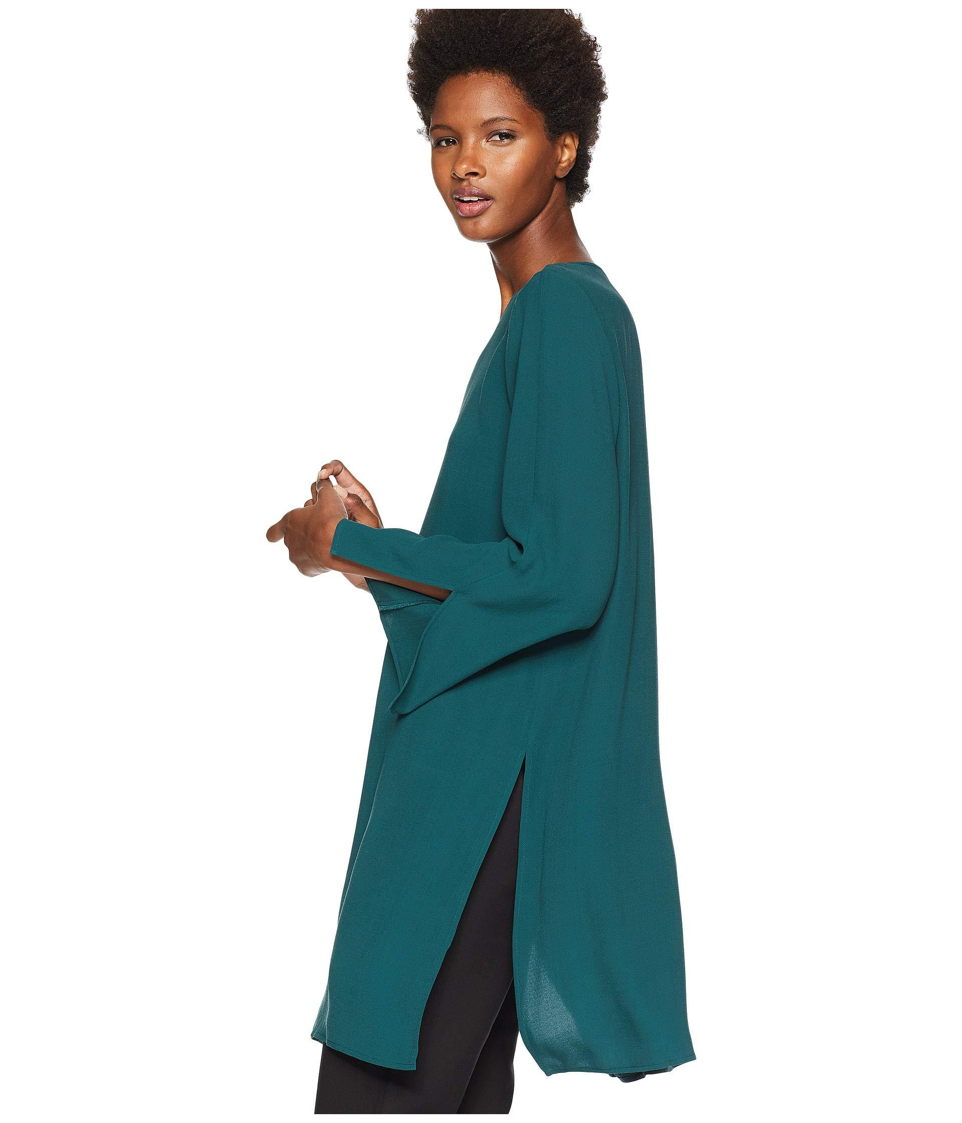417b8b1c06dc80 Eileen Fisher - Green Silk Georgette Crepe Round Neck Tunic With Side Slits  - Lyst. View fullscreen