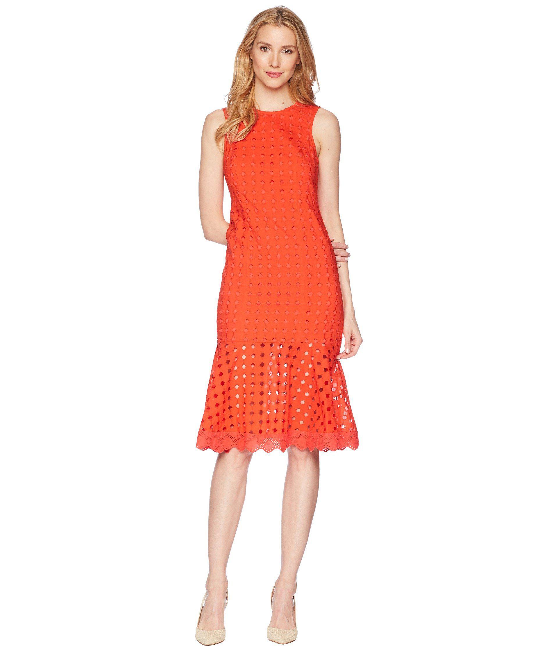 Donna Morgan Women S Red Sleeveless Eyelet Midi Dress
