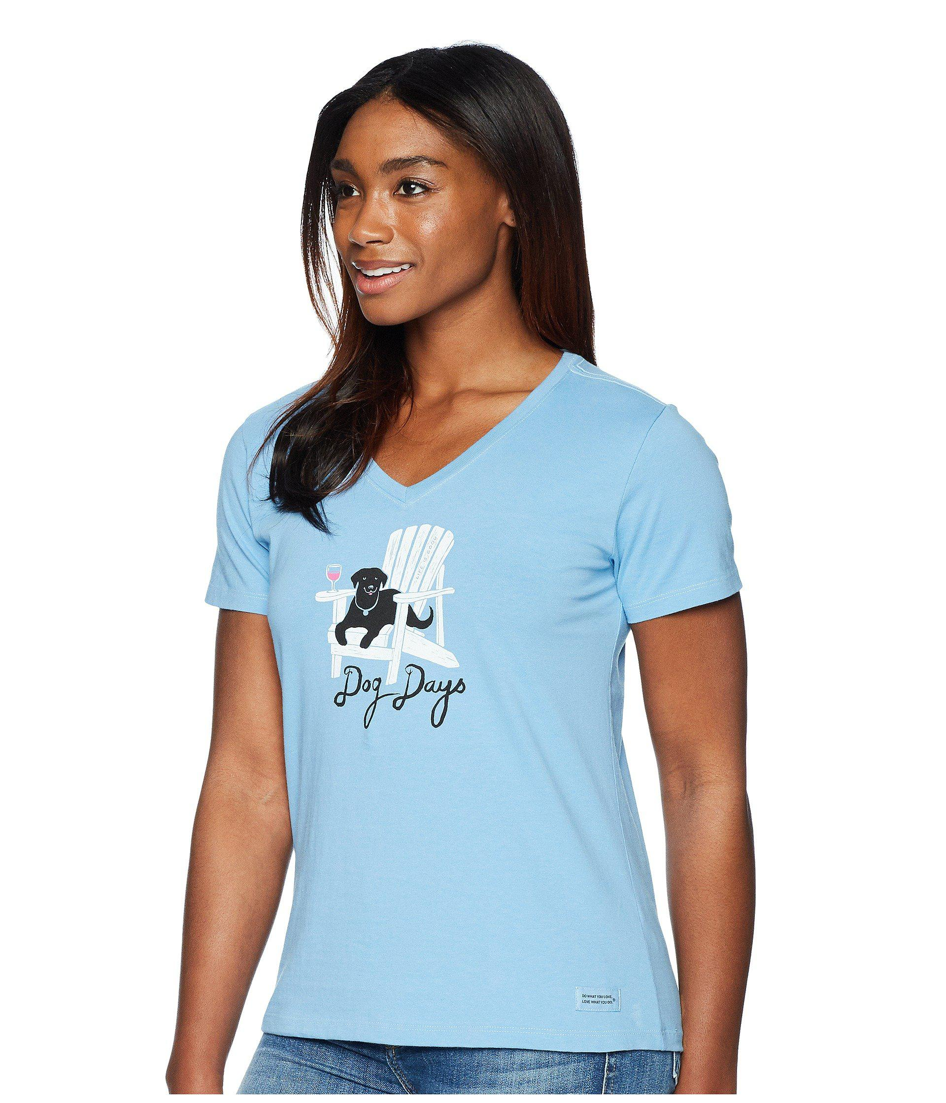 0df9996b2ca677 Life Is Good. Dog Days Crusher Vee Tee in Blue - Lyst