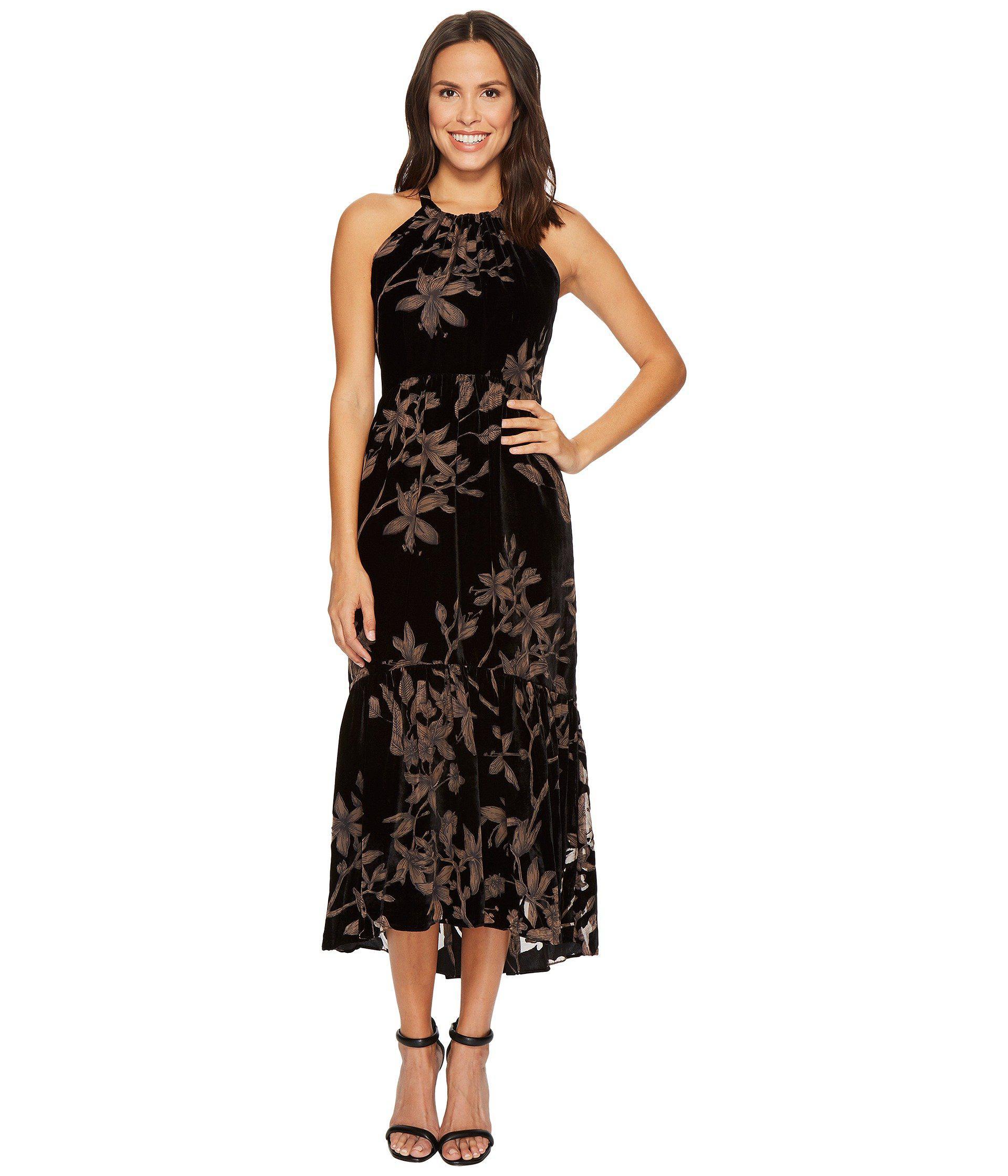 23437cdf96c Lyst - Vince Camuto Printed Velvet Halter High-low Midi Dress in ...