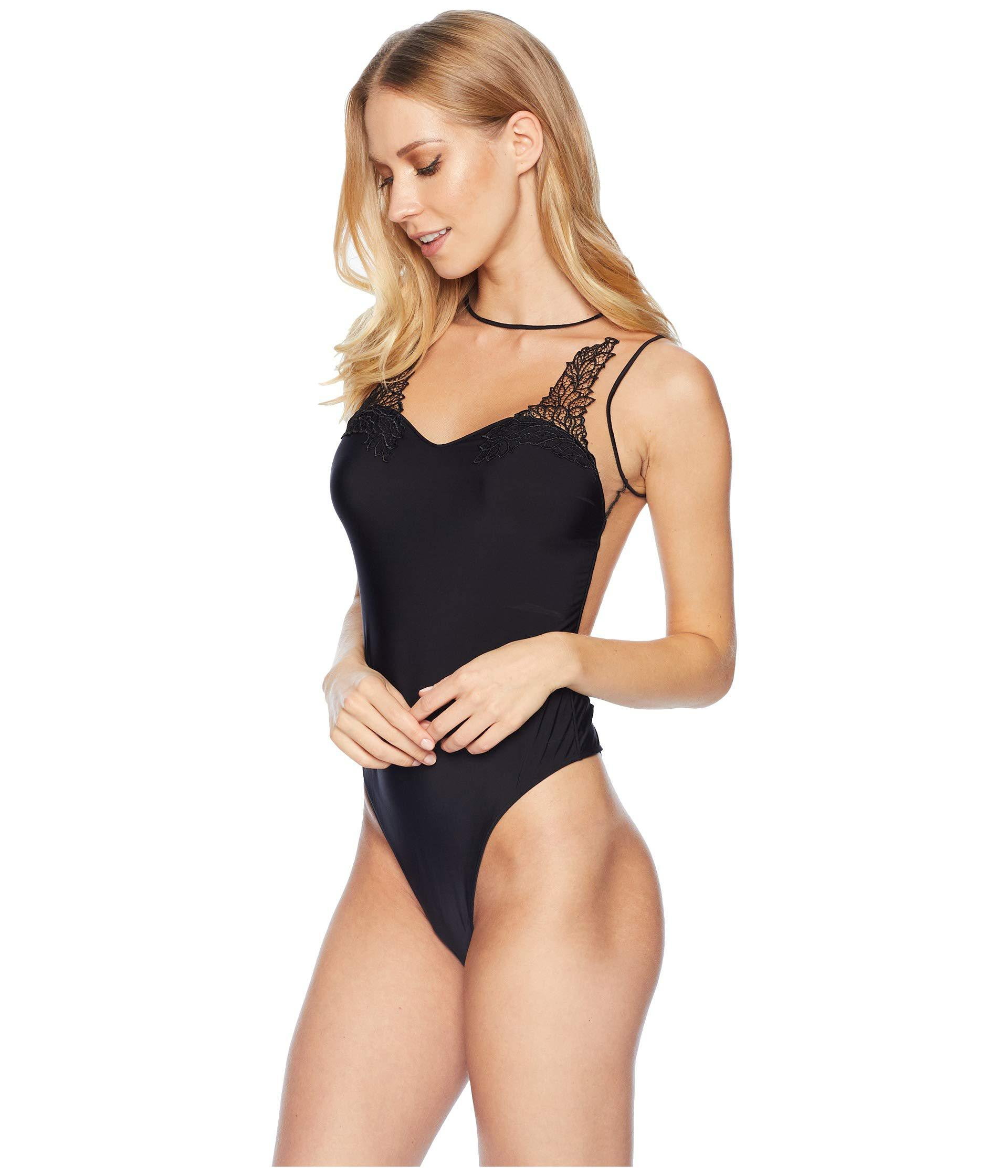 8ae7ccece9 Lyst - Felina Giselle Thong Lace Applique Bodysuit in Black - Save 50%