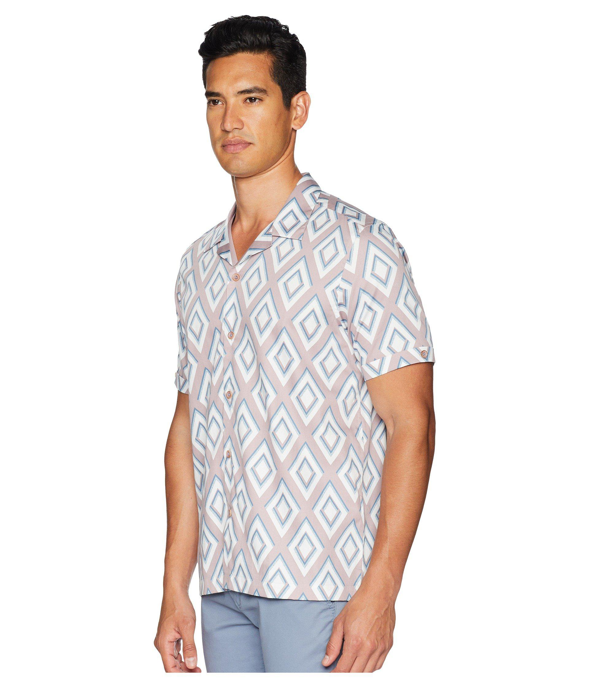 0b959a92a Lyst - Ted Baker Bloo Short Sleeve Large Diamond Print Shirt in Pink for Men  - Save 26%