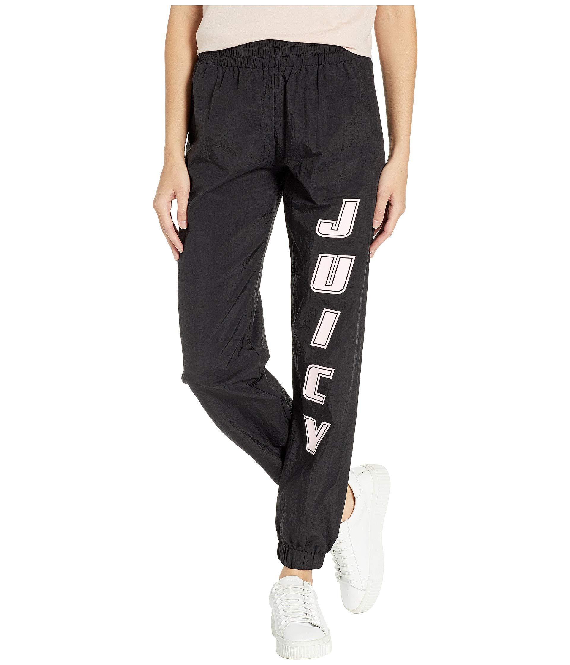 15c48972fc Lyst - Juicy Couture Juicy Nylon Logo Pants in Black