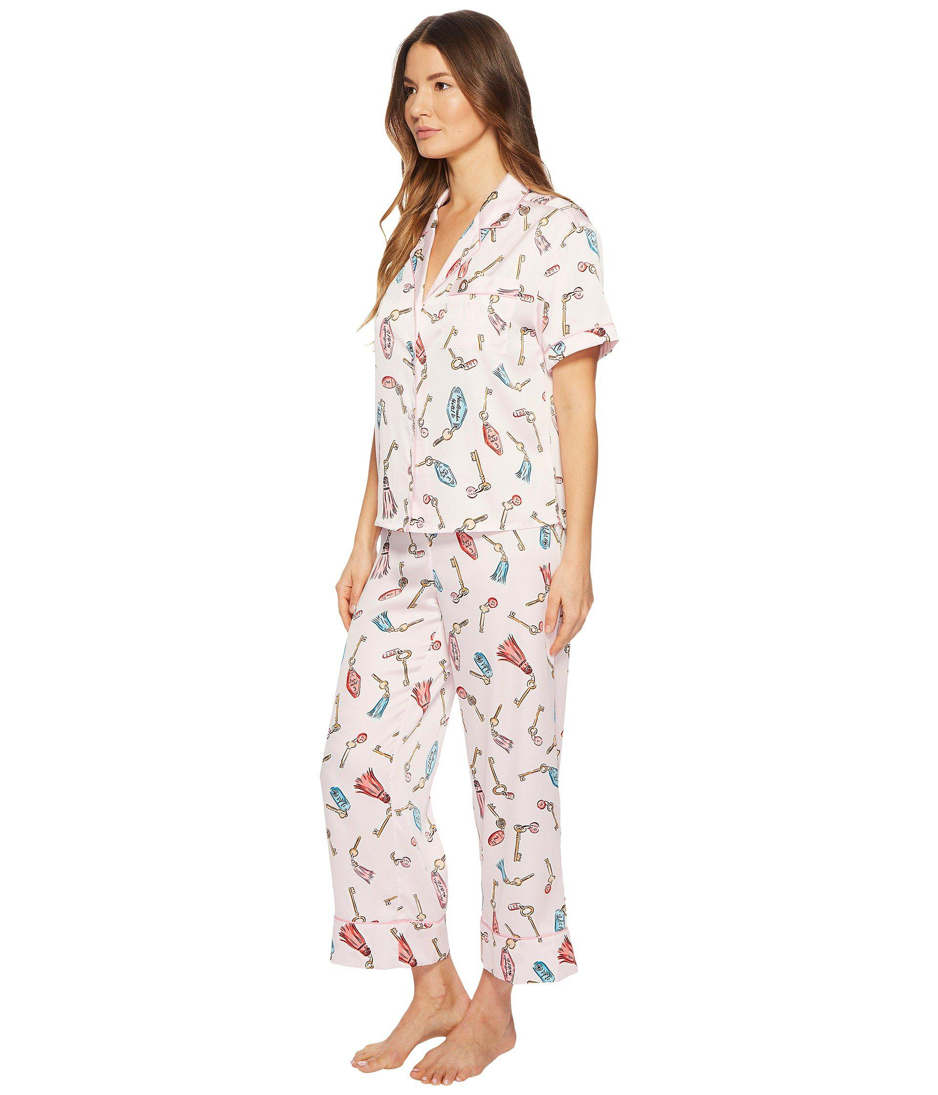 c5a7a45a49f Lyst - Kate Spade Hotel Keys Cropped Pajama Set
