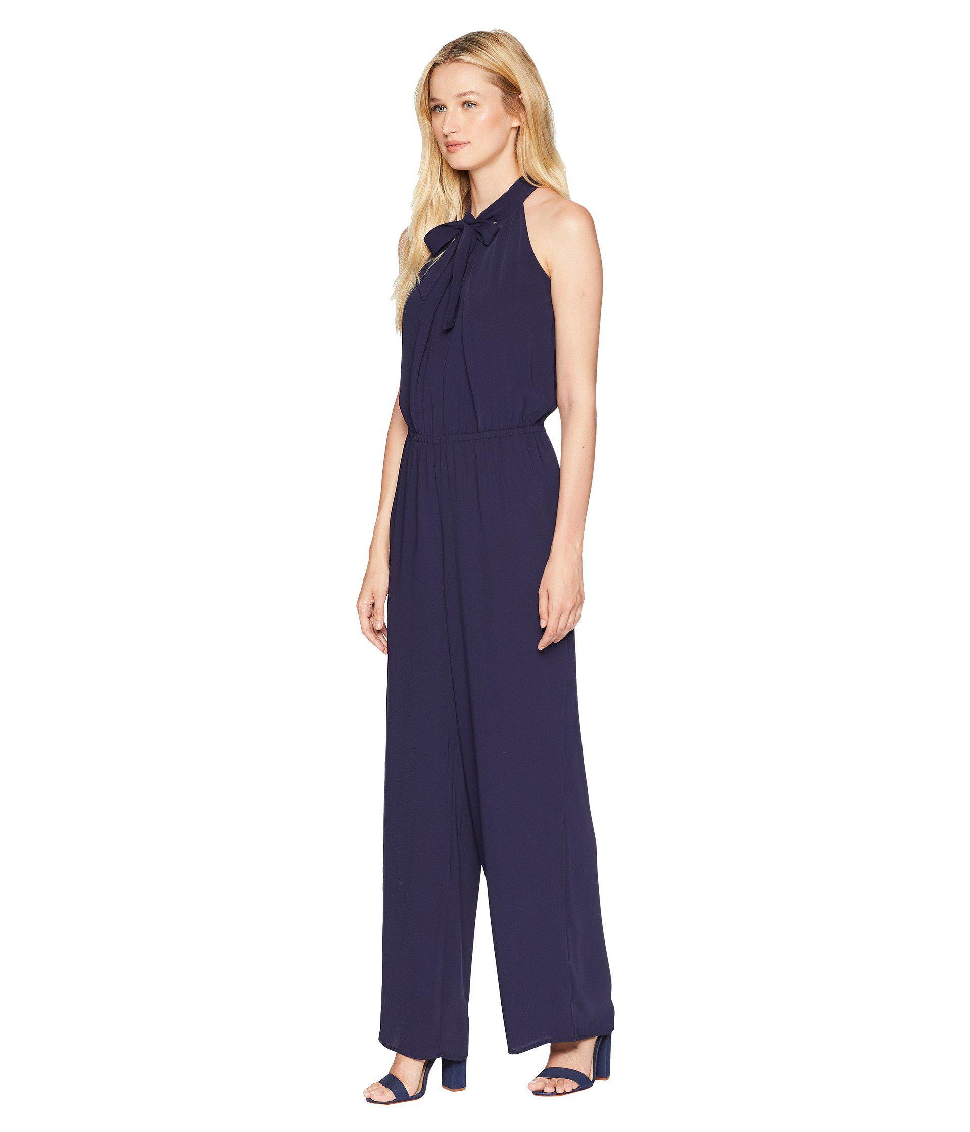 ab7cc737824 Lyst - Cece Tie Neck Crepe Jumpsuit in Blue - Save 55%