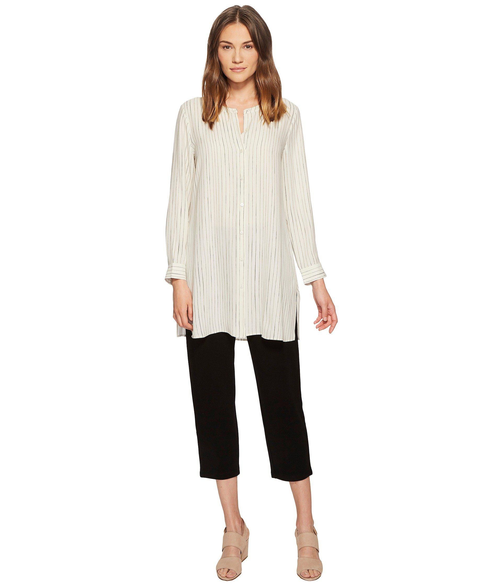 f67972af1d Lyst - Eileen Fisher Painterly Stripe Silk Crepe Long Shirt in White ...