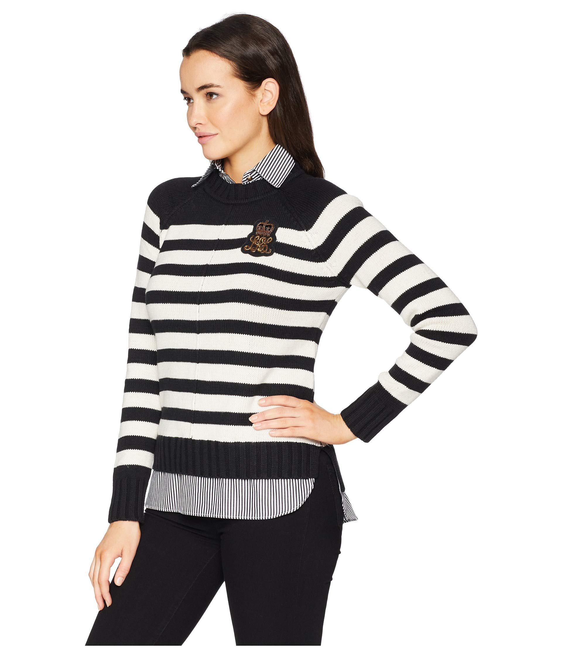 Lyst - Lauren by Ralph Lauren Bullion-patch Layered Shirt in Black - Save  33.0% 5da23ab04310