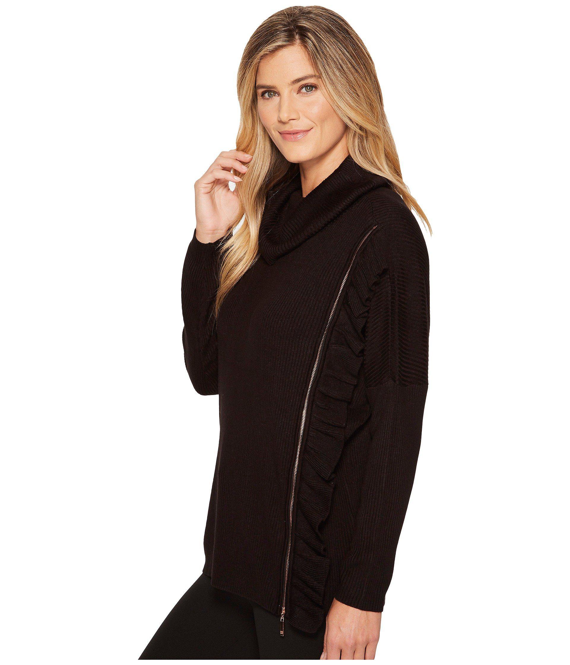 Ivanka Trump - Black Zipper Ruffle Turtleneck Sweater - Lyst. View  fullscreen