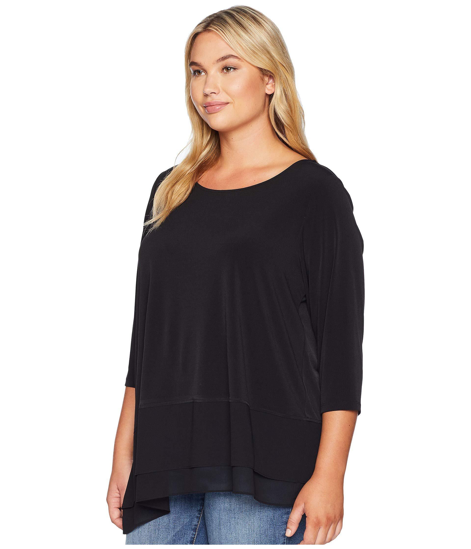 fcd7cc97c7b7e Lyst - Calvin Klein Plus Size 3 4 Sleeve Top Asymmetrical Hem in Black