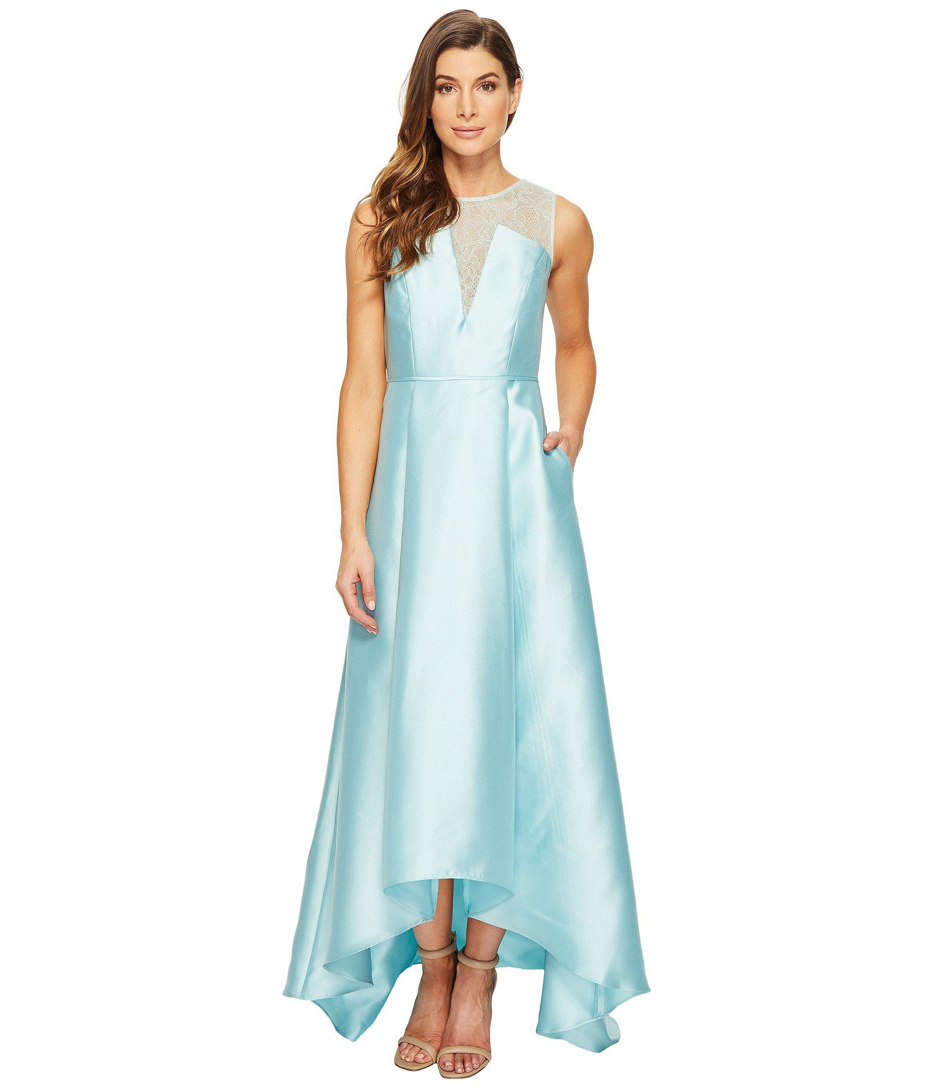 Lyst - Adrianna Papell Lace Bodice Yoke And Mikado Combo Ball Gown ...
