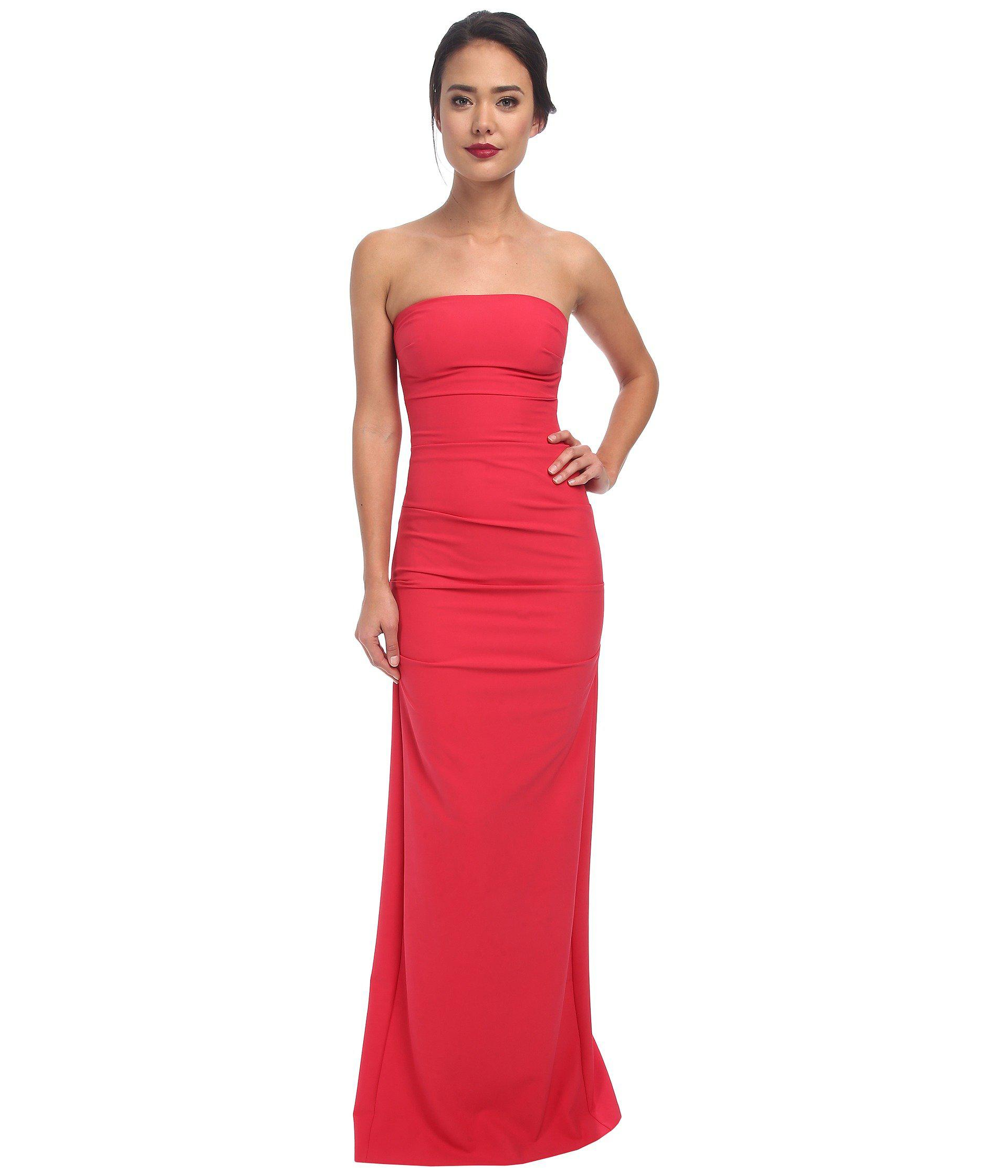 Lyst - Nicole Miller Felicity Techy Crepe Strapless Gown in Red ...