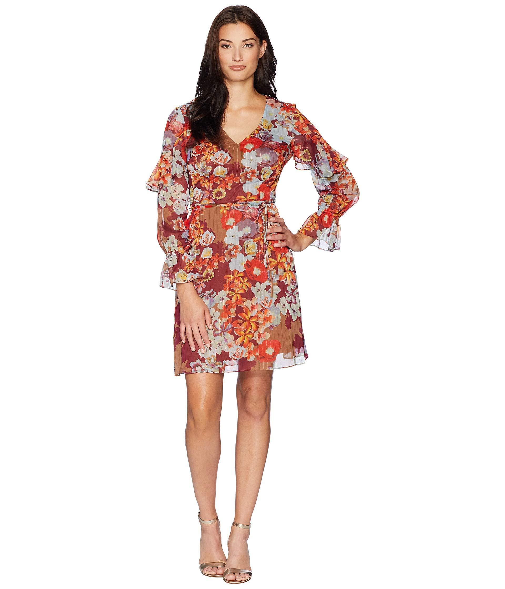 904cb502031 Adrianna Papell. Women s Red Floral Print Metallic Stripe Chiffon Ruffle Sleeve  Dress