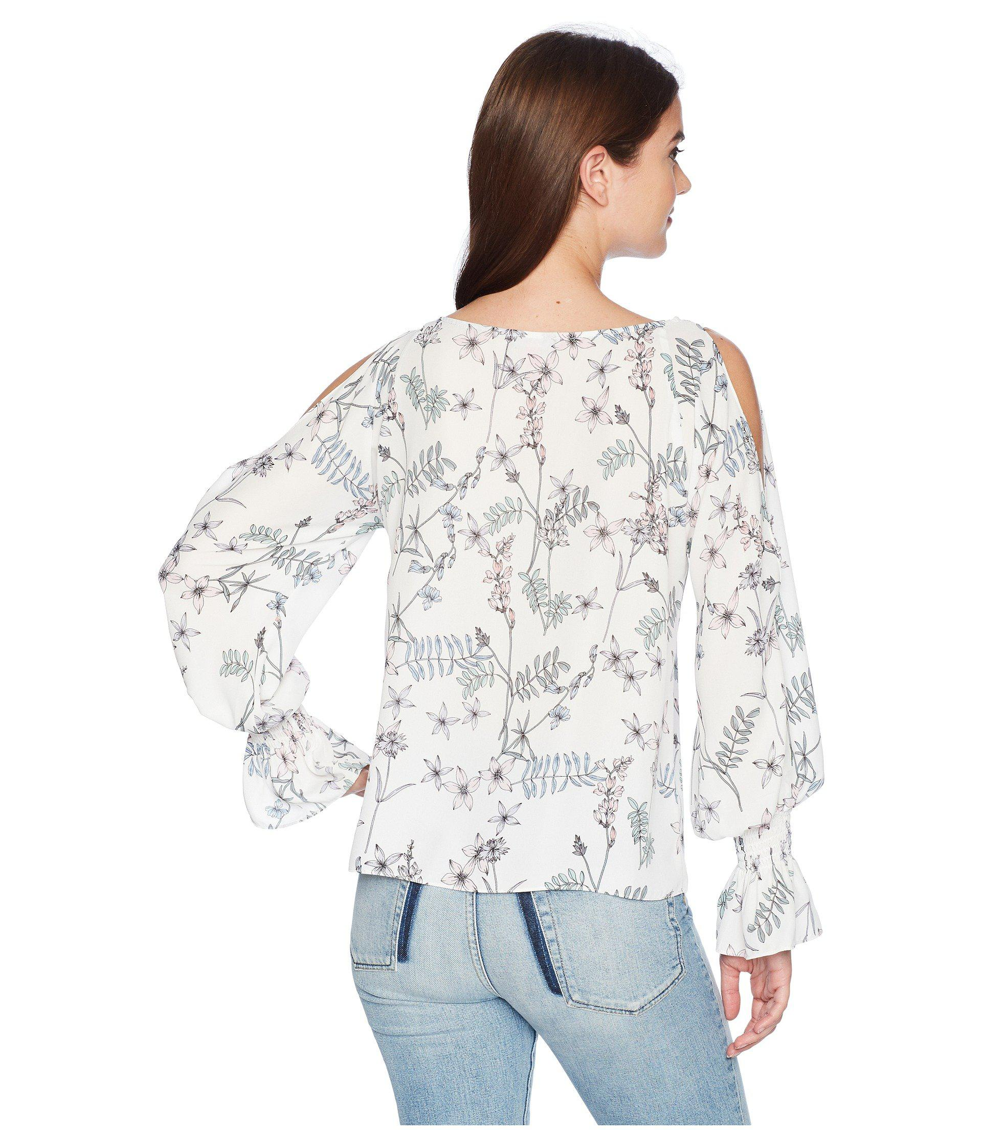 aae461628b7b6 Vince Camuto - White Long Sleeve Flare Cuff Cold Shoulder Botanical Floral  Blouse - Lyst. View fullscreen