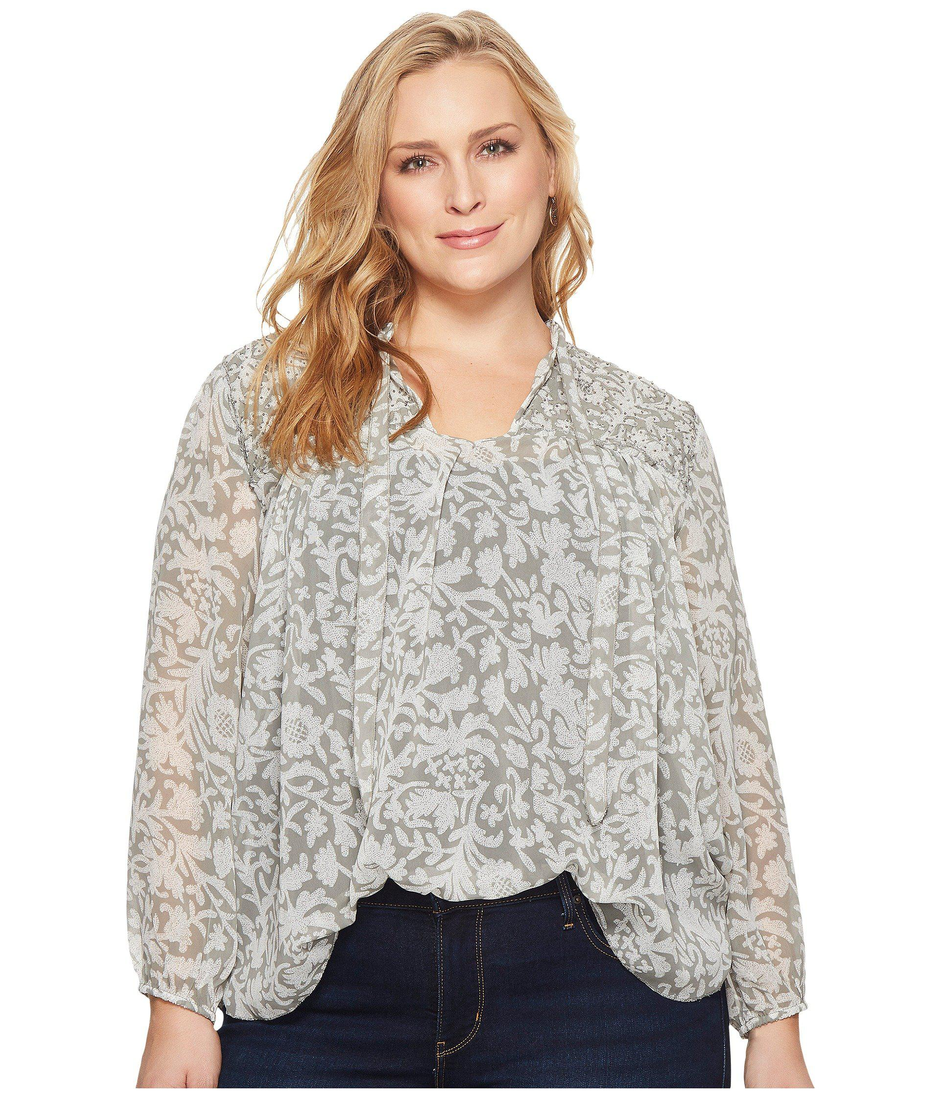 37f587debf4 Lyst - Lucky Brand Plus Size Beaded Floral Peasant Top in Gray ...