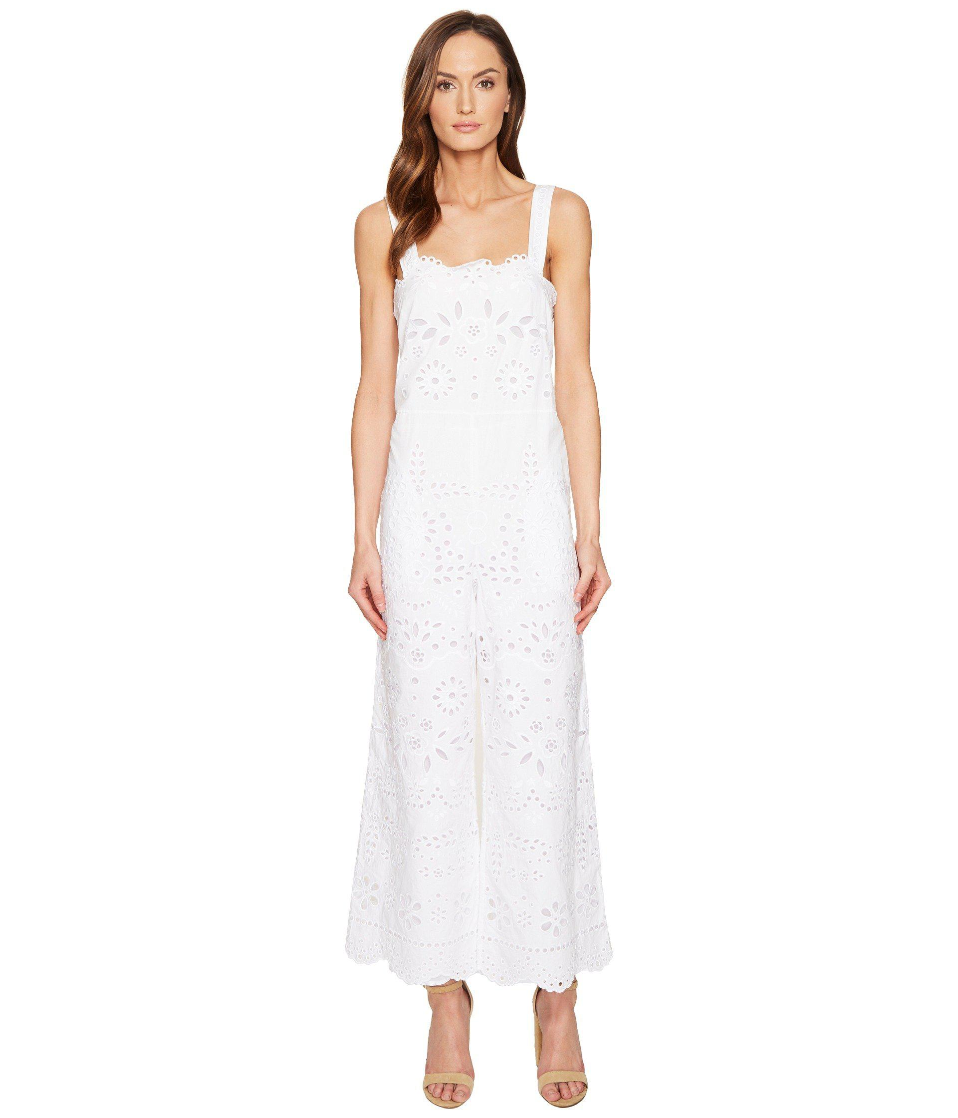 342a0cc9e5d7 RED Valentino. Women s White Cotton Muslin And Sangallo Embroidery Jumpsuit