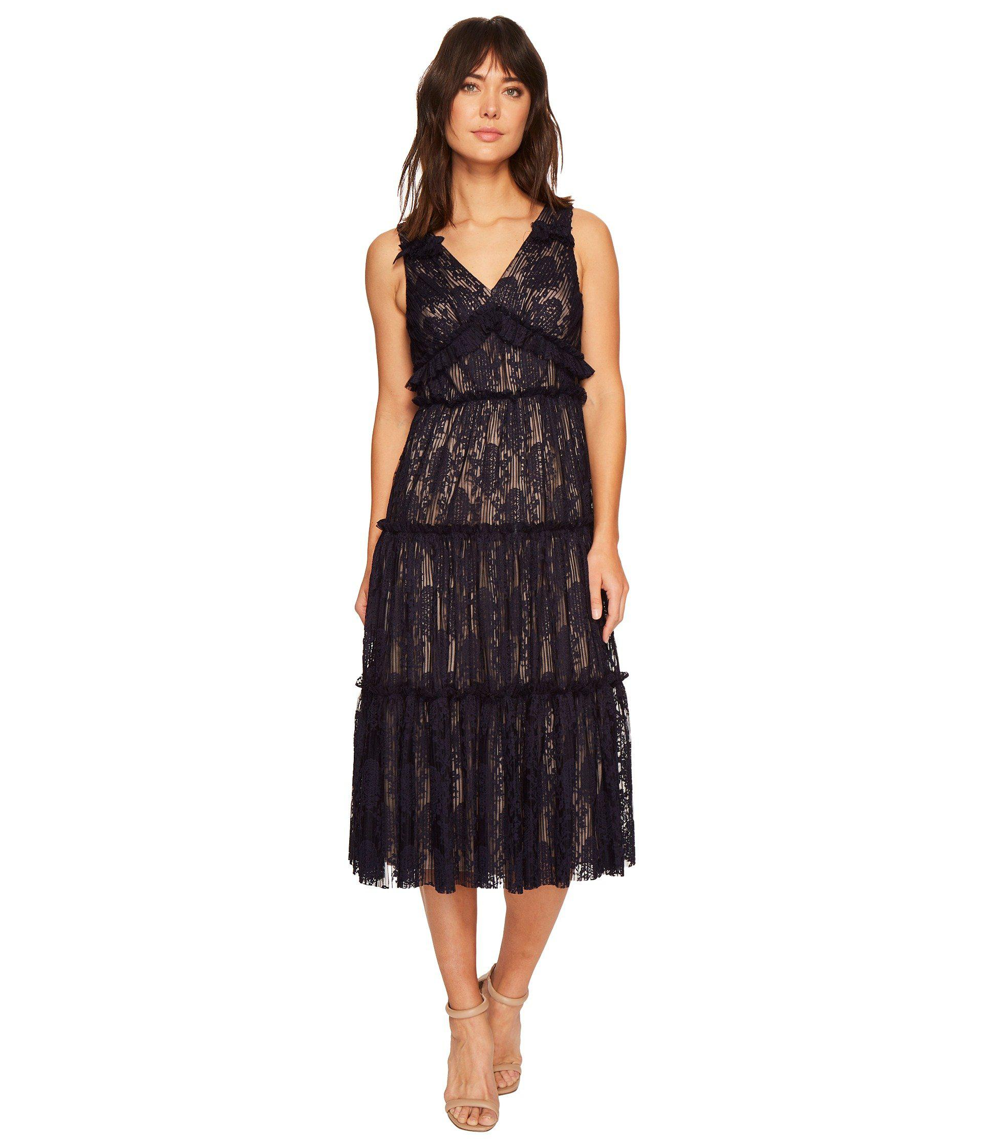 Lyst - Maggy London Pleat Medallion Lace Tiered Cocktail Dress in ...