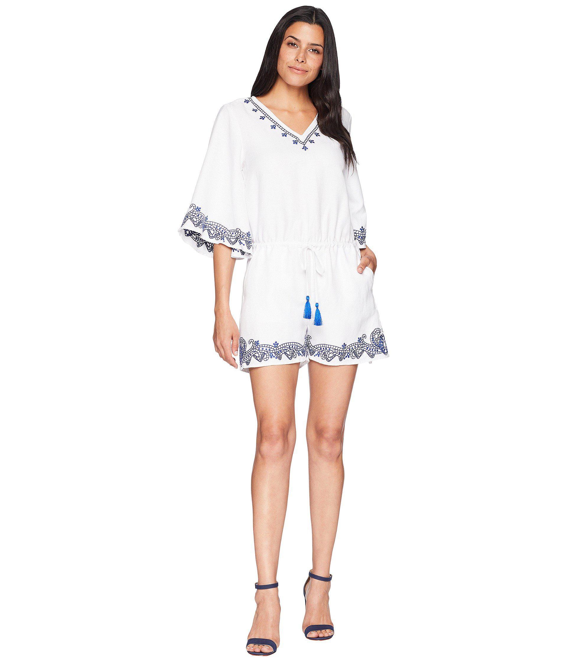 be5418d6df3d Lyst - Lauren by Ralph Lauren Embroidered Linen Romper in White ...