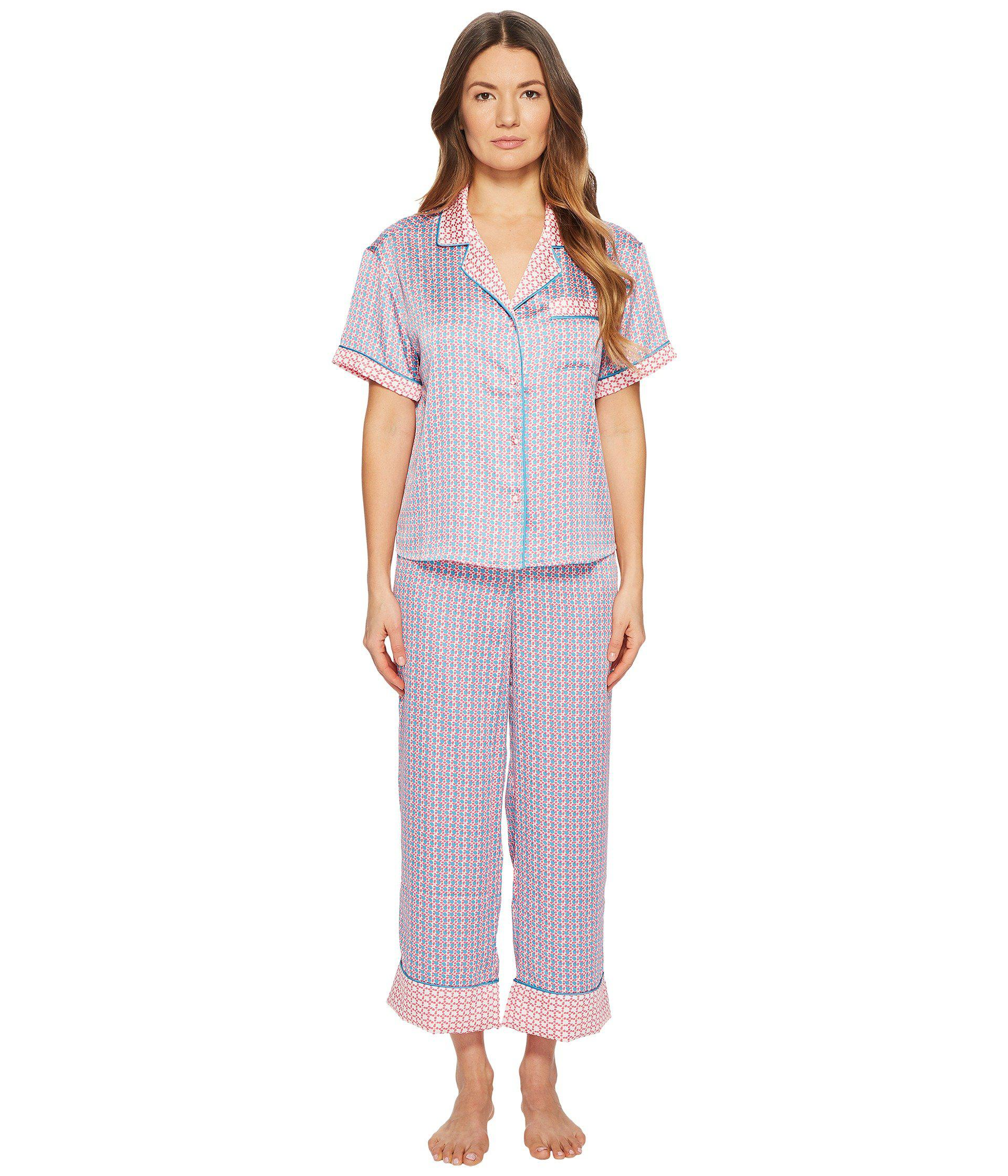 1e367bd530b8 Lyst - Kate Spade Geo Grid Cropped Pajama Set in Purple