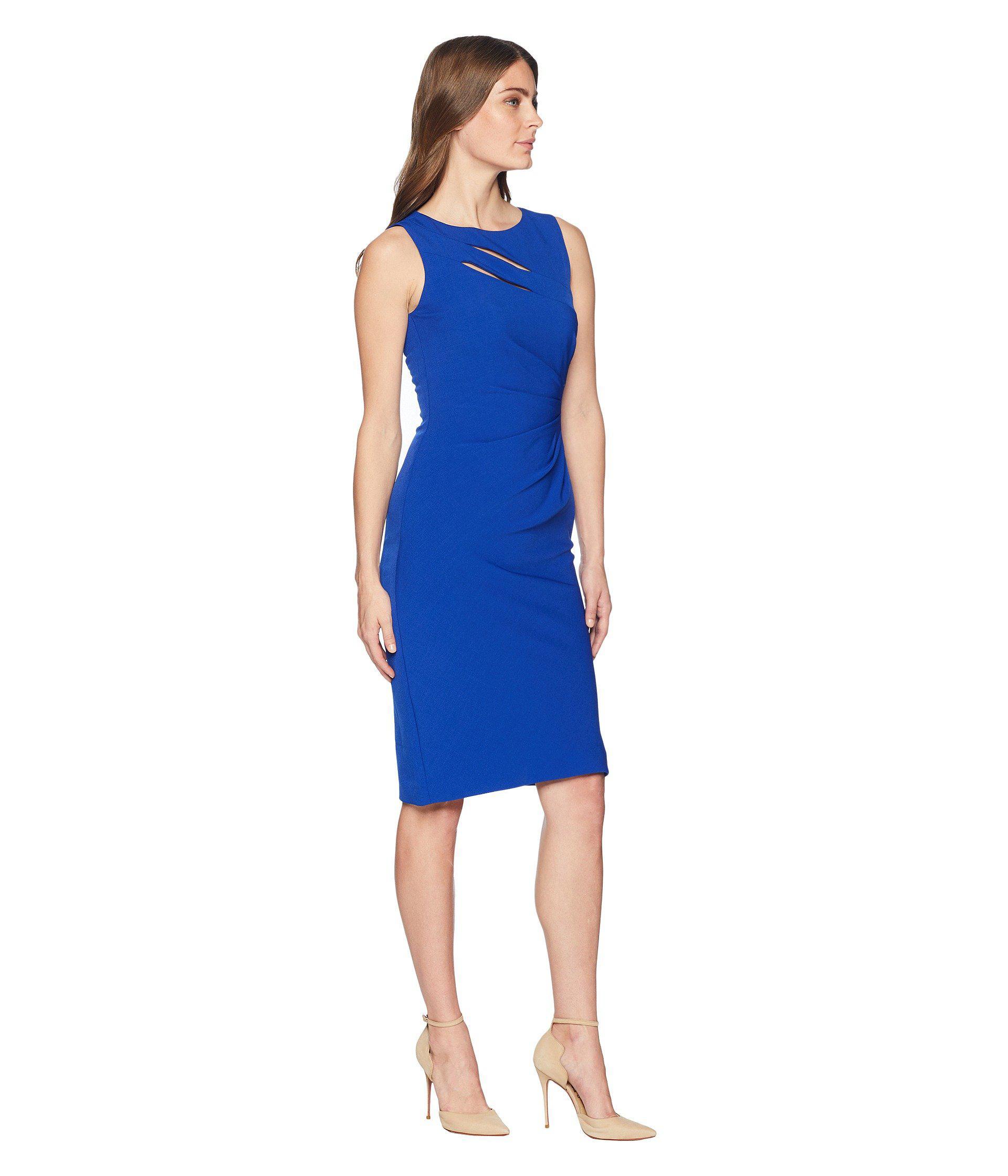 f3ce7cf3e0d8 Tahari Cut Out Sheath Dress With Shirring in Blue - Lyst
