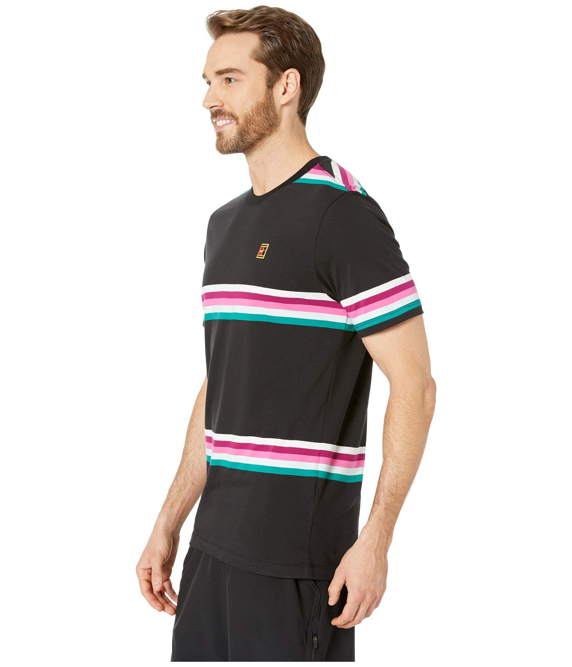 3de18ac1dd79 Lyst - Nike Court T-shirt Heritage Stripe in Black for Men