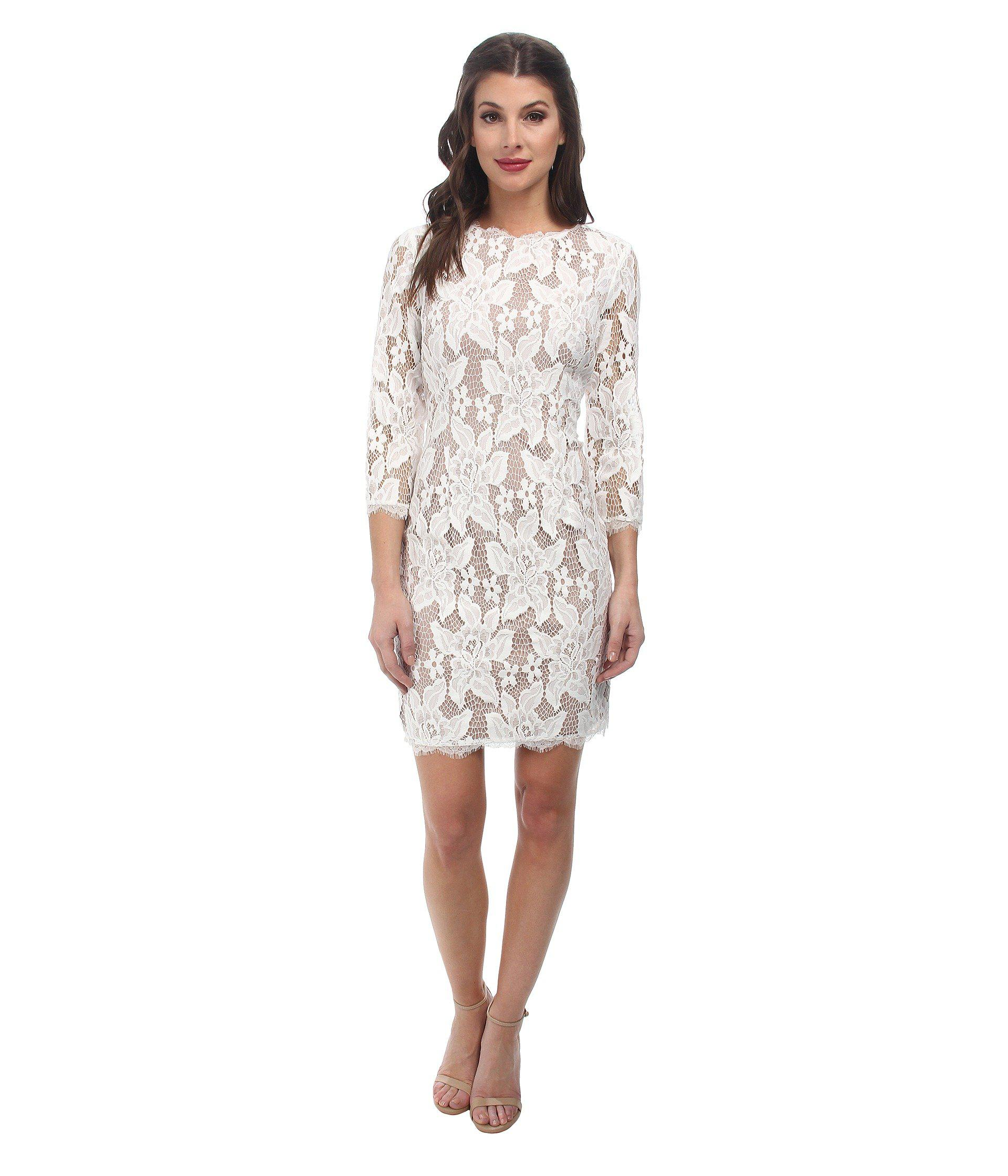 Lyst - Adrianna Papell 3/4 Sleeved Cocktail Dress in White