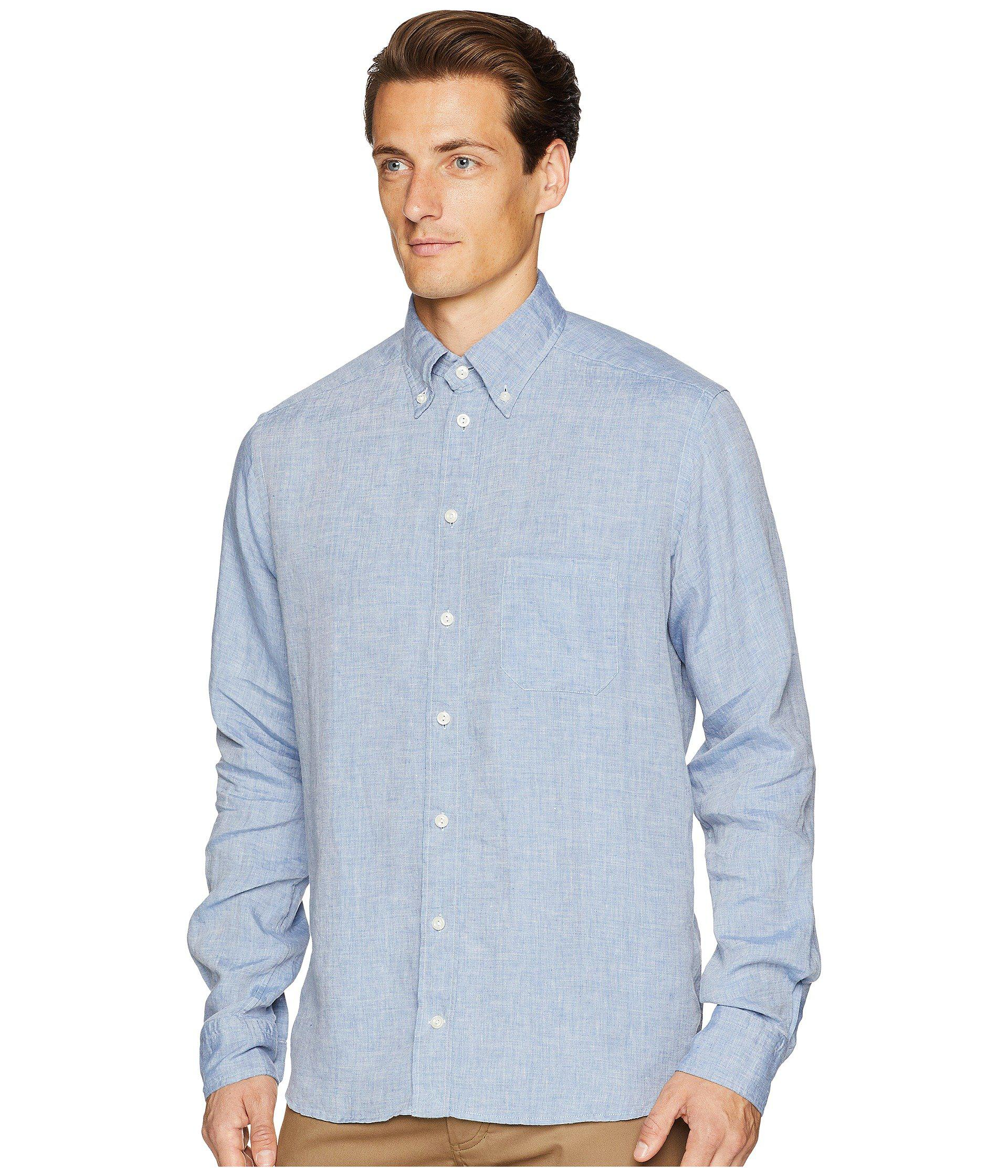 84073d8a008 Lyst - Eton of Sweden Contemporary Fit Linen Shirt in Blue for Men - Save  31%