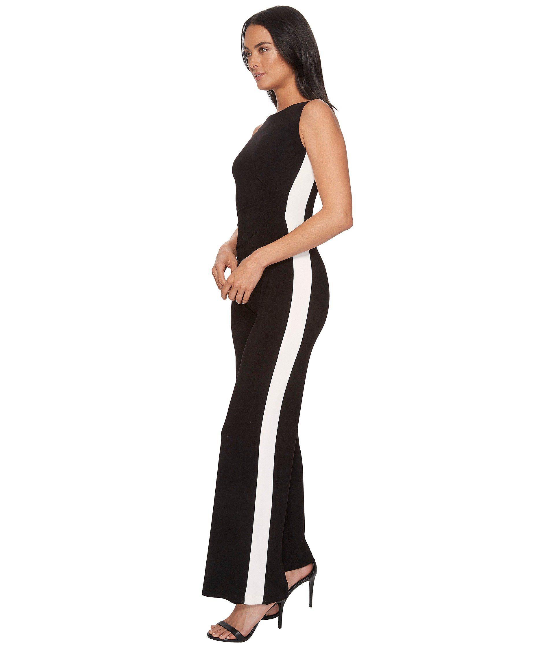 1f129702a40 Lyst - Lauren by Ralph Lauren Shah Two-tone Matte Jersey Jumpsuit in Black  - Save 37%