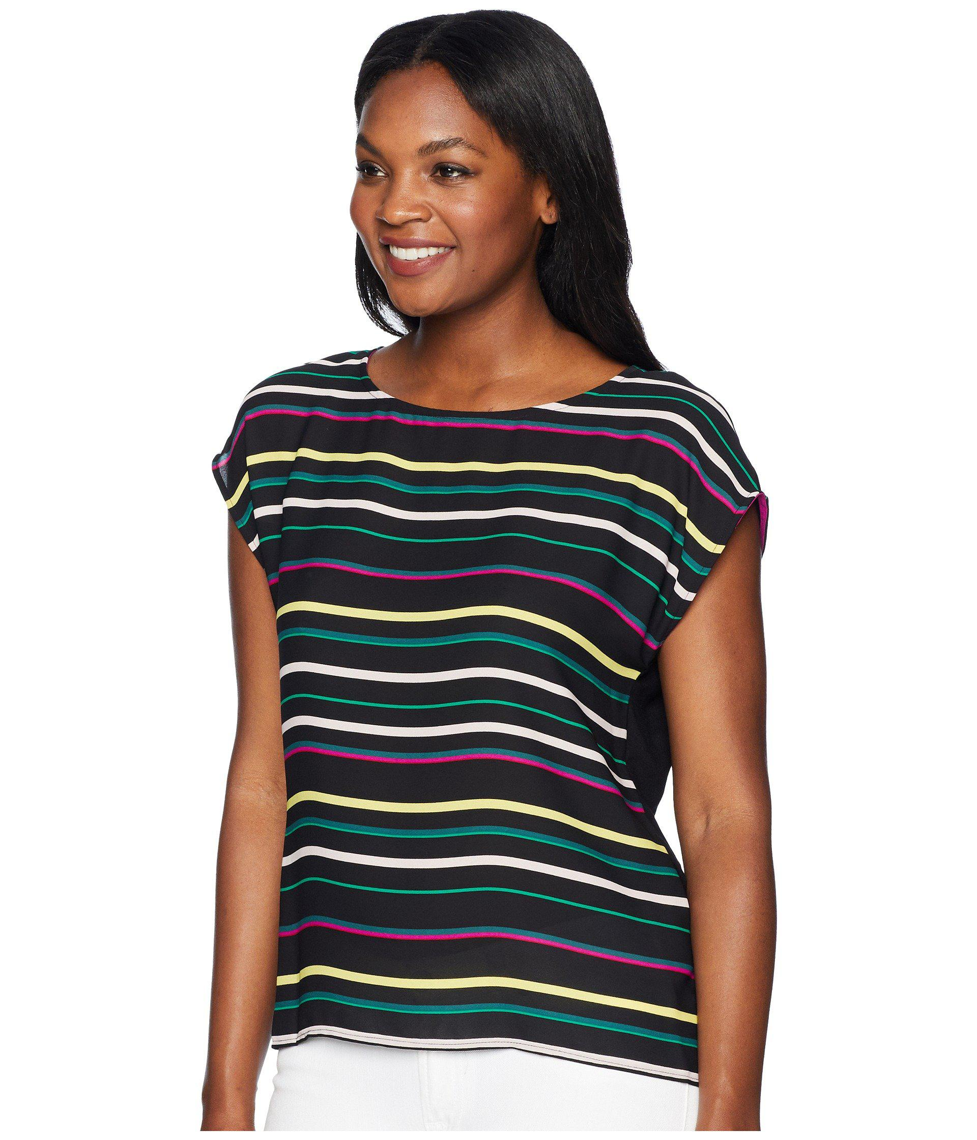 e84a12c97be00 Lyst - Vince Camuto Extended Shoulder Paradise Multi Stripe Blouse in Black  - Save 36%