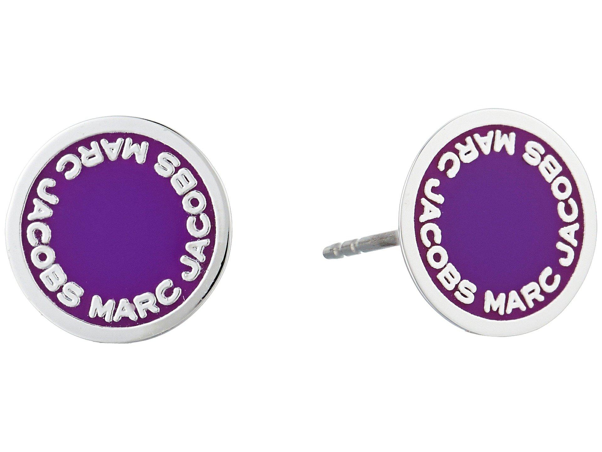 c9163910157a0 Lyst - Marc Jacobs Logo Disc Enamel Studs Earrings in Purple