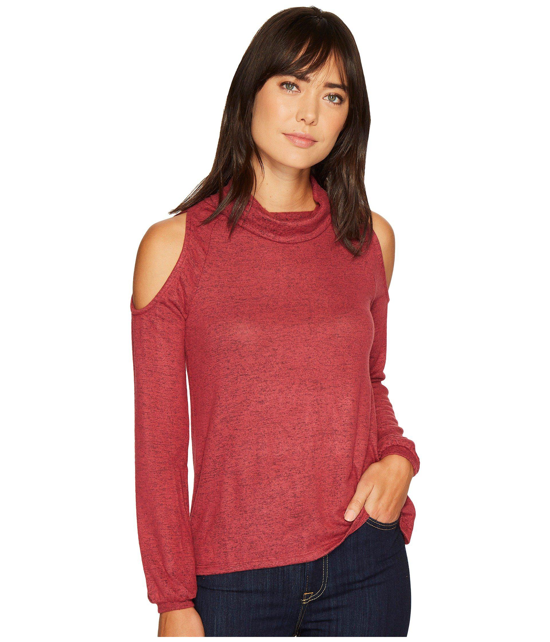 16fad03b45d1fd Lyst - B Collection By Bobeau Bey Cold Shoulder Cozy Top in Red ...