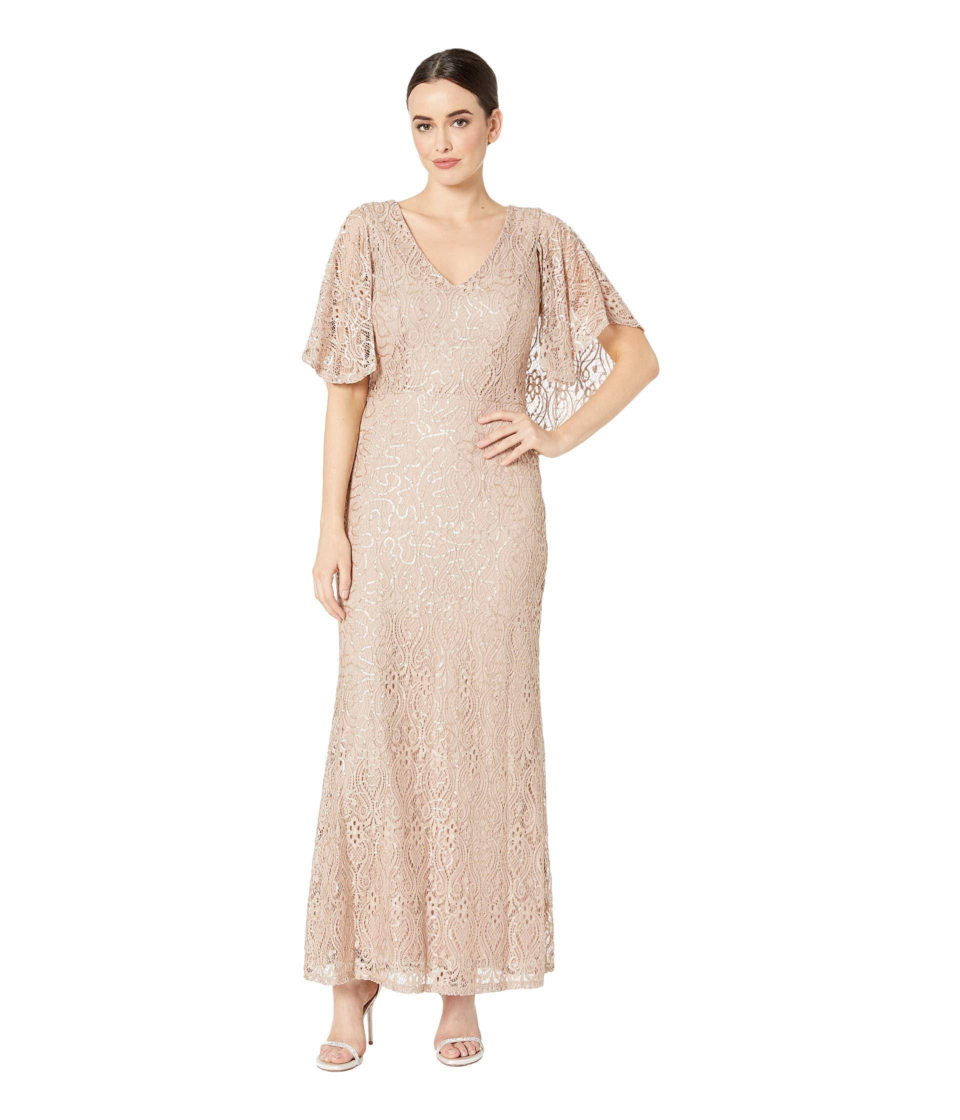 7e0d6e894f628 Lyst - Marina Sequin Stretch Lace V-neck Gown With Cape in Natural