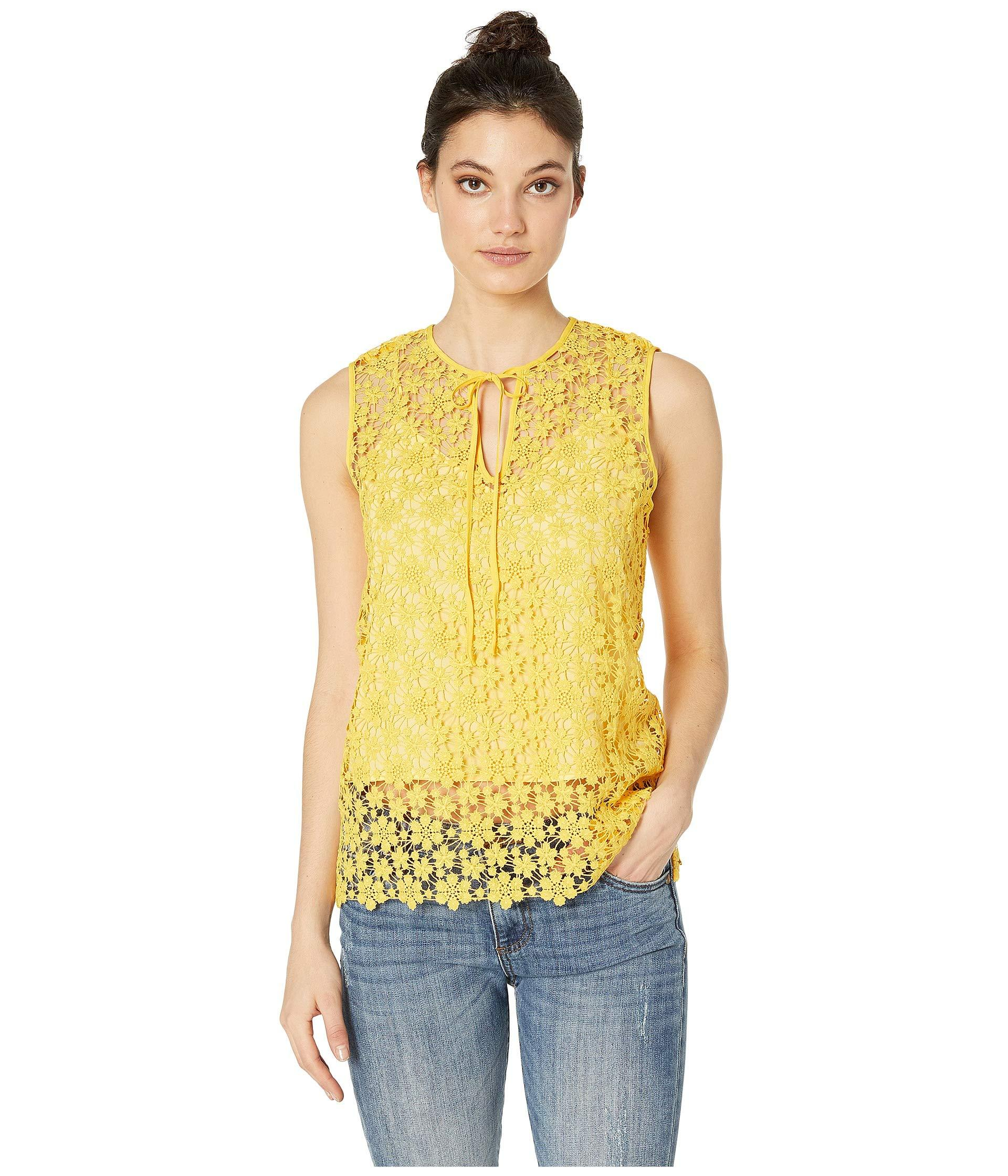 b5f6dcb26460f Lyst - Juicy Couture Lydia Guipure Lace Sleeveless Top in Yellow