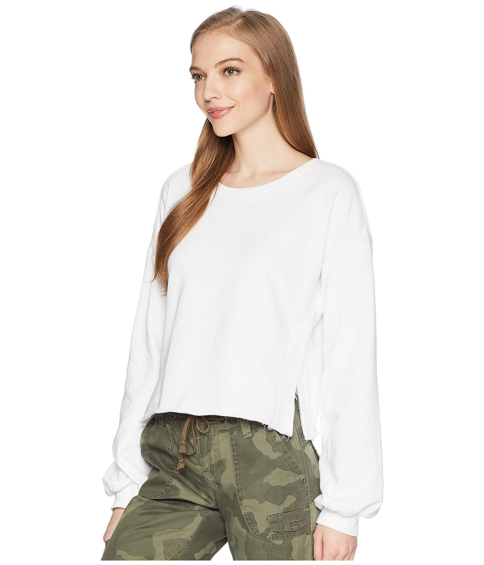 03962ffb73e3e Lyst - Romeo and Juliet Couture Balloon Sleeve Cropped Sweatshirt in White