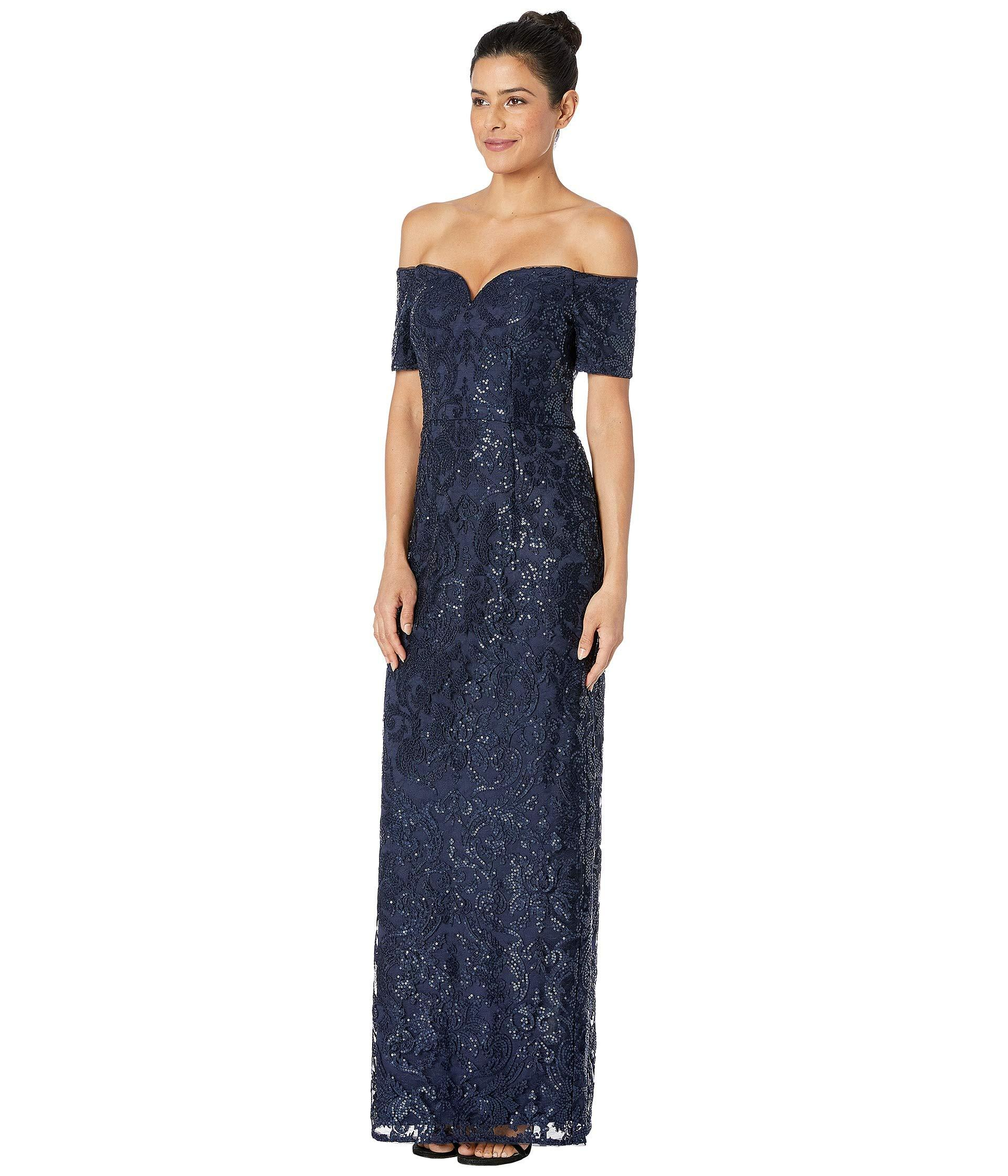 8290ace0 Adrianna Papell Off Shoulder All Over Sequin Embroidery Column Gown in Blue  - Save 53% - Lyst