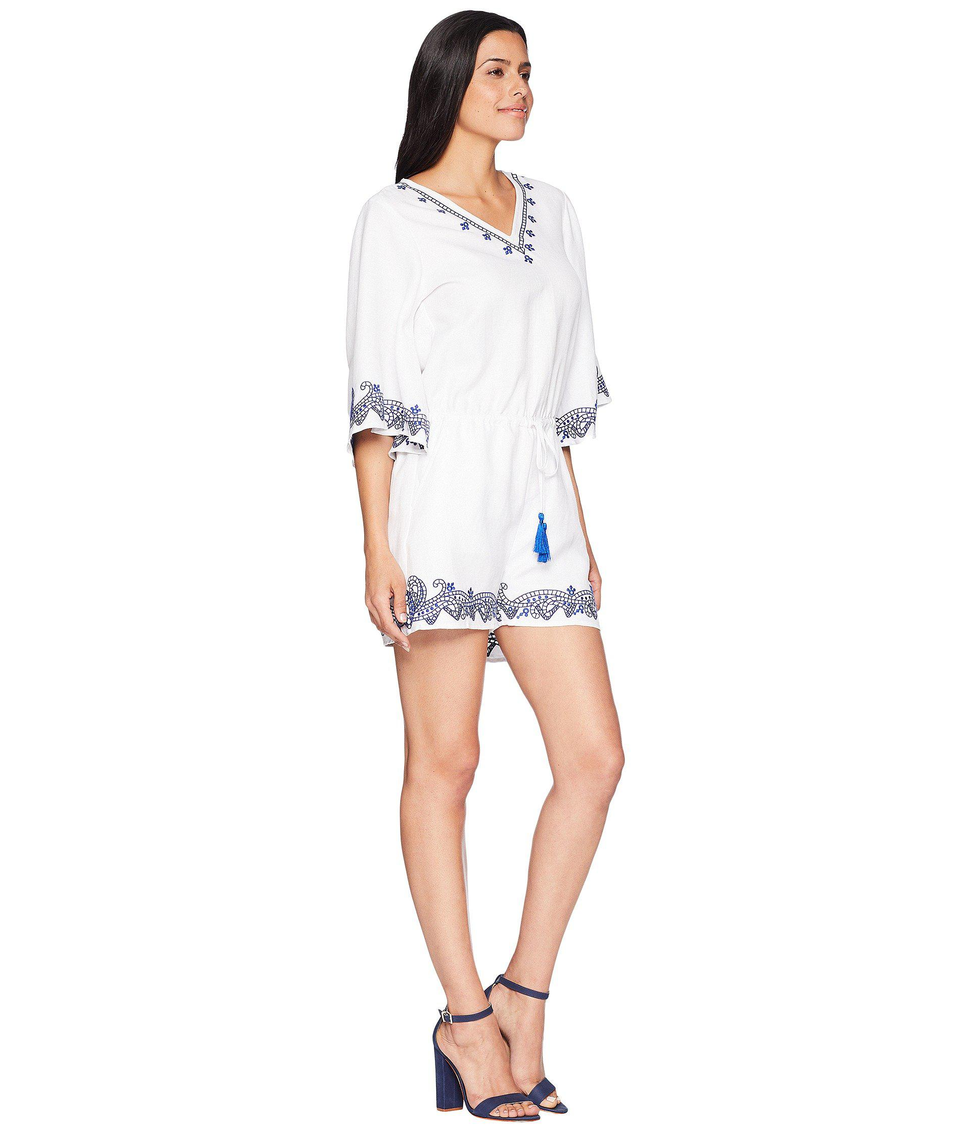 3c1f94b041ee Lauren by Ralph Lauren - White Embroidered Linen Romper - Lyst. View  fullscreen